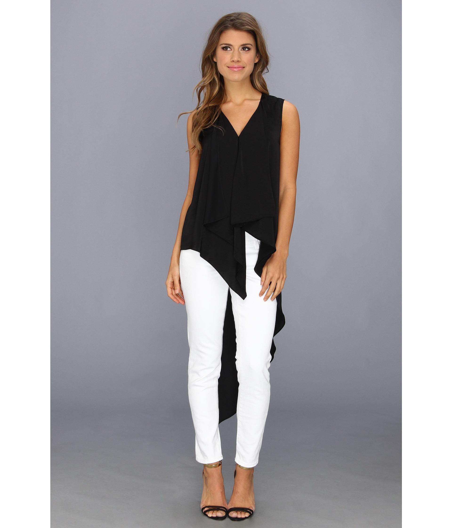 Bcbgmaxazria Cyprein Drape Tunic Top in Black | Lyst