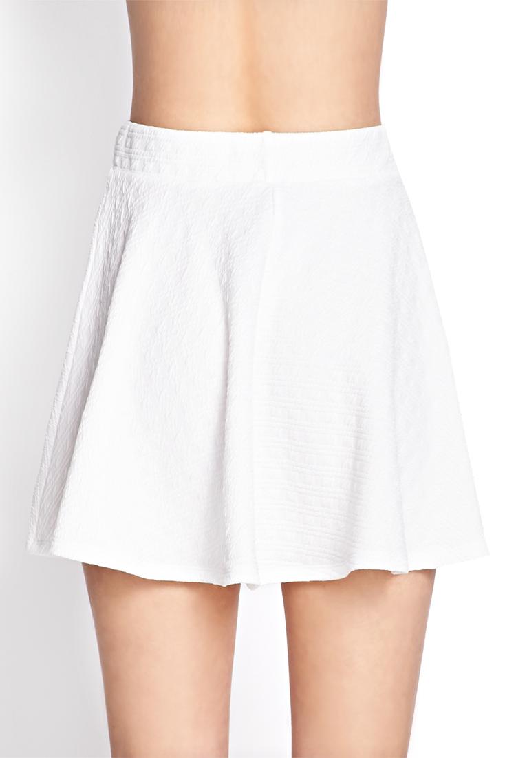 Forever 21 Textured Stripe Skater Skirt in White   Lyst