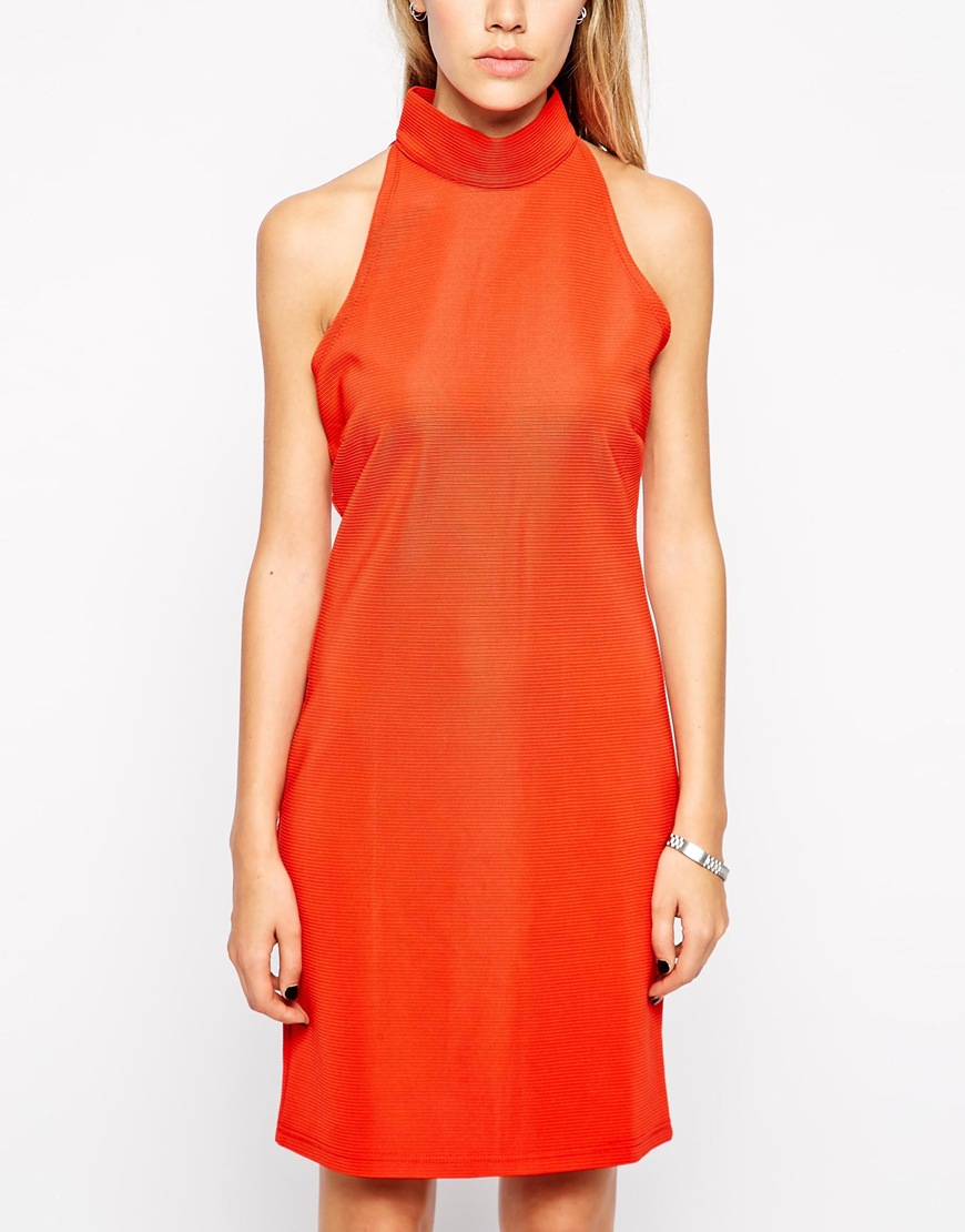 4b3ac437e99 Lyst - Glamorous Ribbed Jersey Bodycon Dress With High Neck in Red