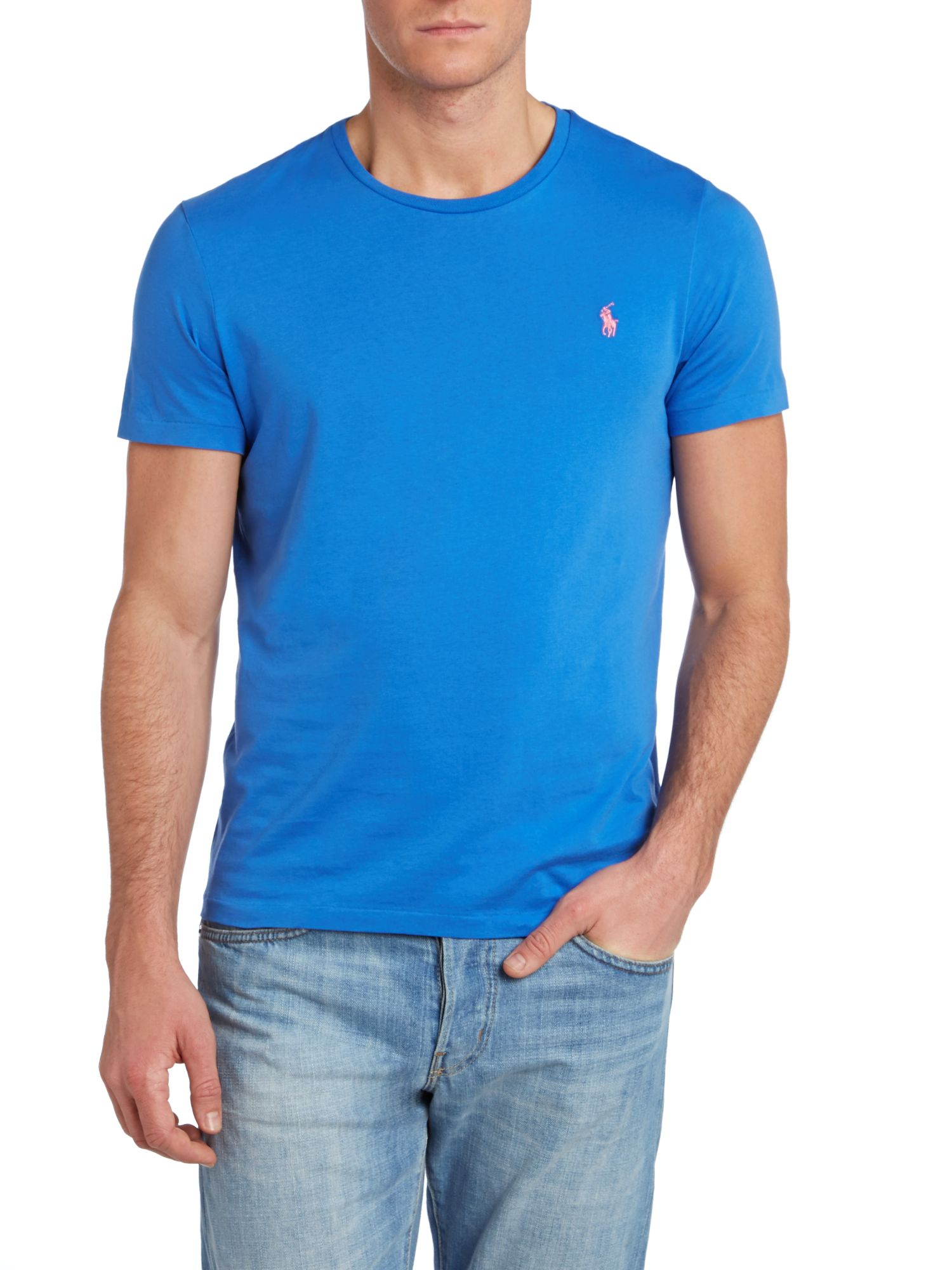 Lyst polo ralph lauren custom fit crew neck short sleeve for Custom fit t shirts