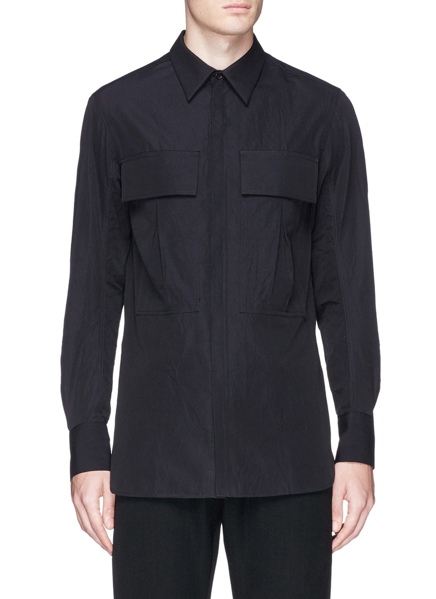 Song For The Mute Large Flap Pocket Shirt In Black For Men