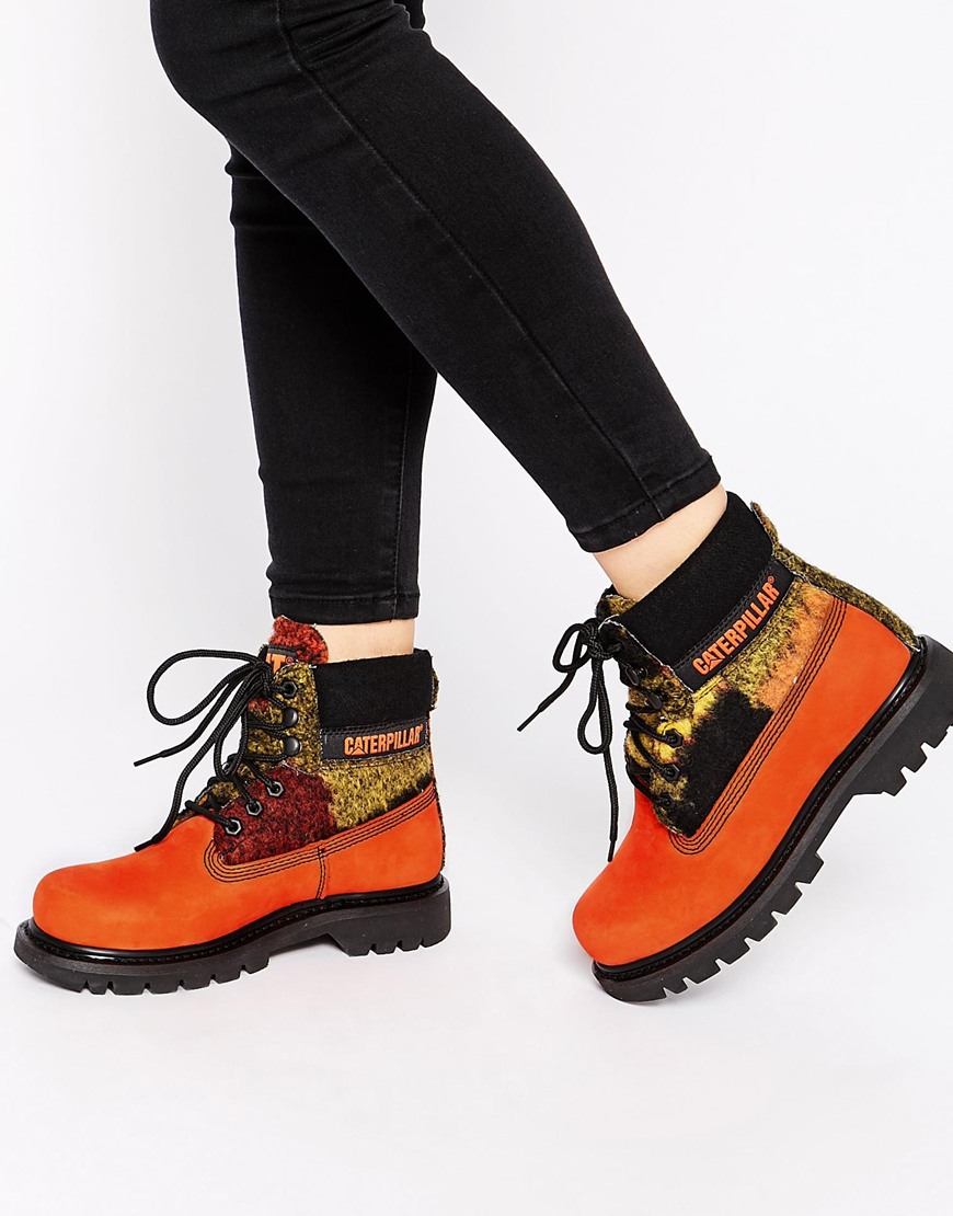 Caterpillar Colorado Orange Wool Mix Leather Ankle Boots