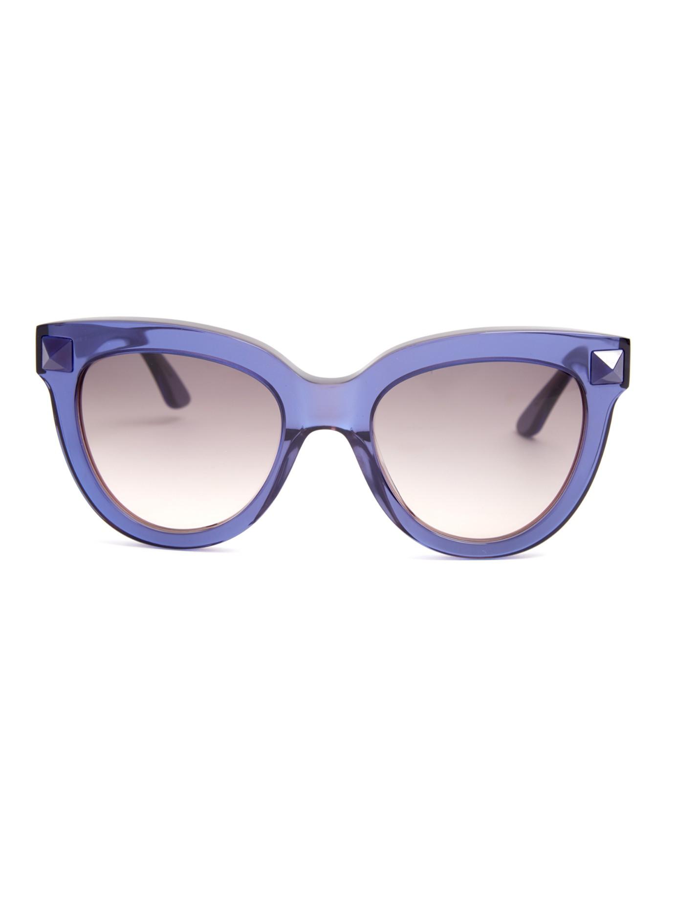 dd1a0fb8b9 Lyst - Valentino Rockstud Cat-eye Frame Sunglasses in Blue