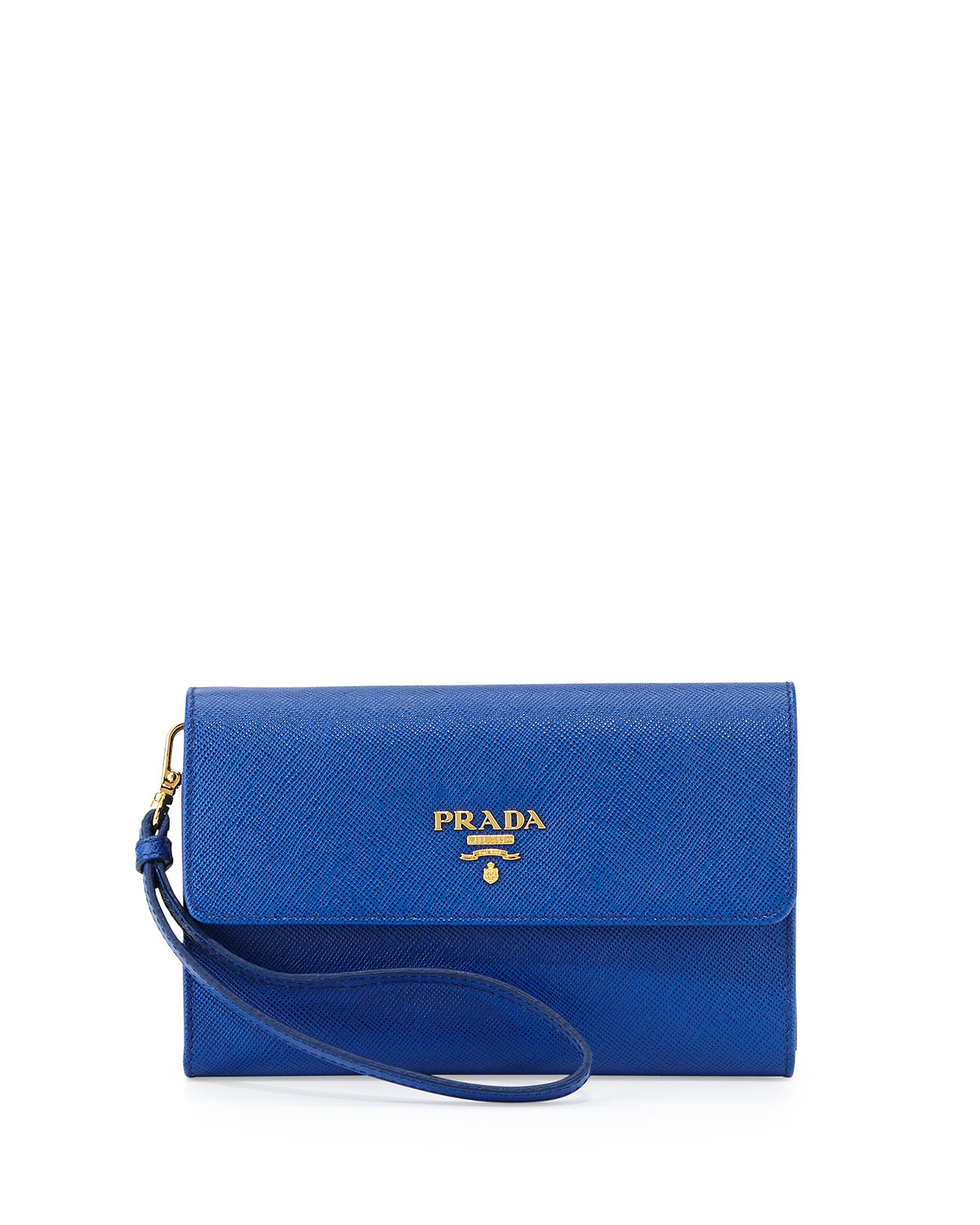 Prada Saffiano Wristlet Clutch Bag in Blue (ROYAL BLUE) | Lyst