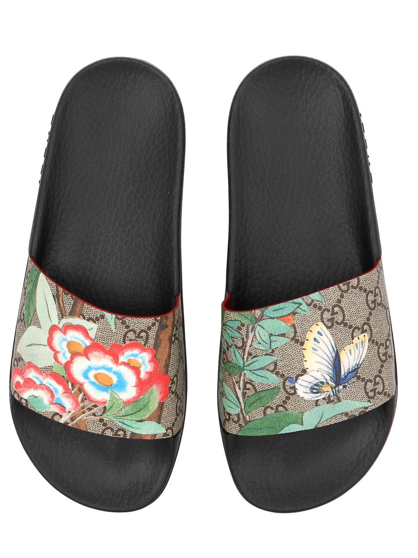 b1022251809b Lyst - Gucci 20mm Pursuit Gg Supreme Slide Sandals