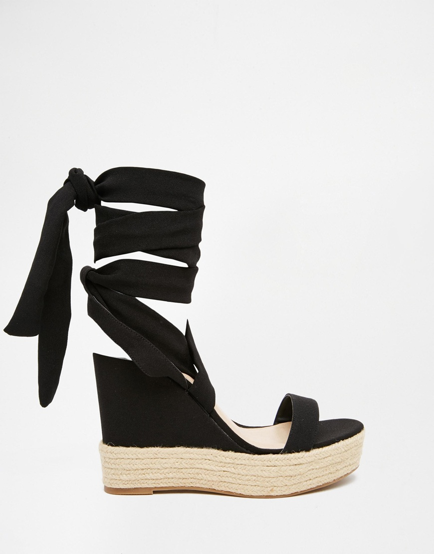 asos tornado lace up wedges in black lyst