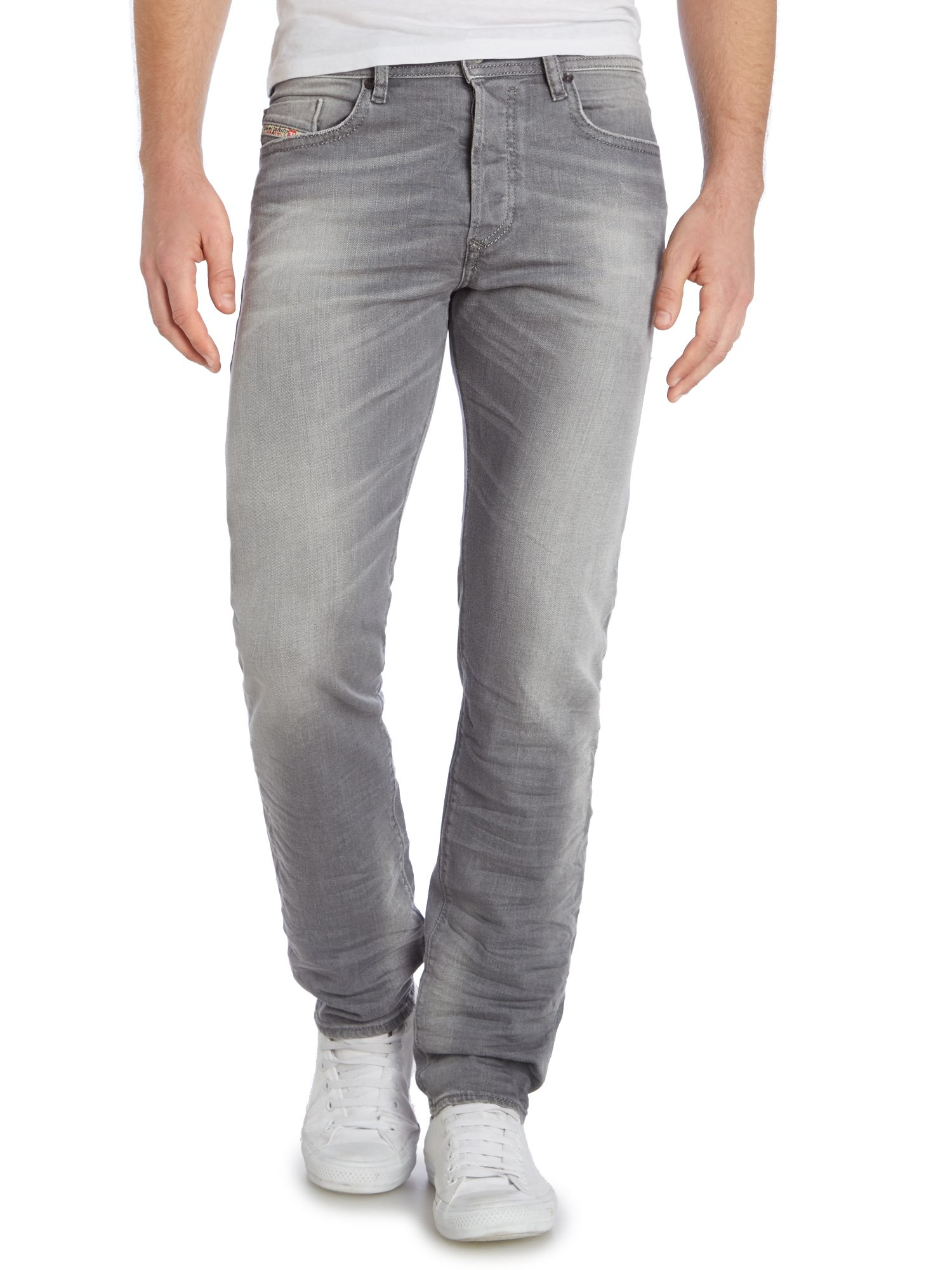 diesel buster 839n tapered fit stretch jeans in gray for men lyst. Black Bedroom Furniture Sets. Home Design Ideas