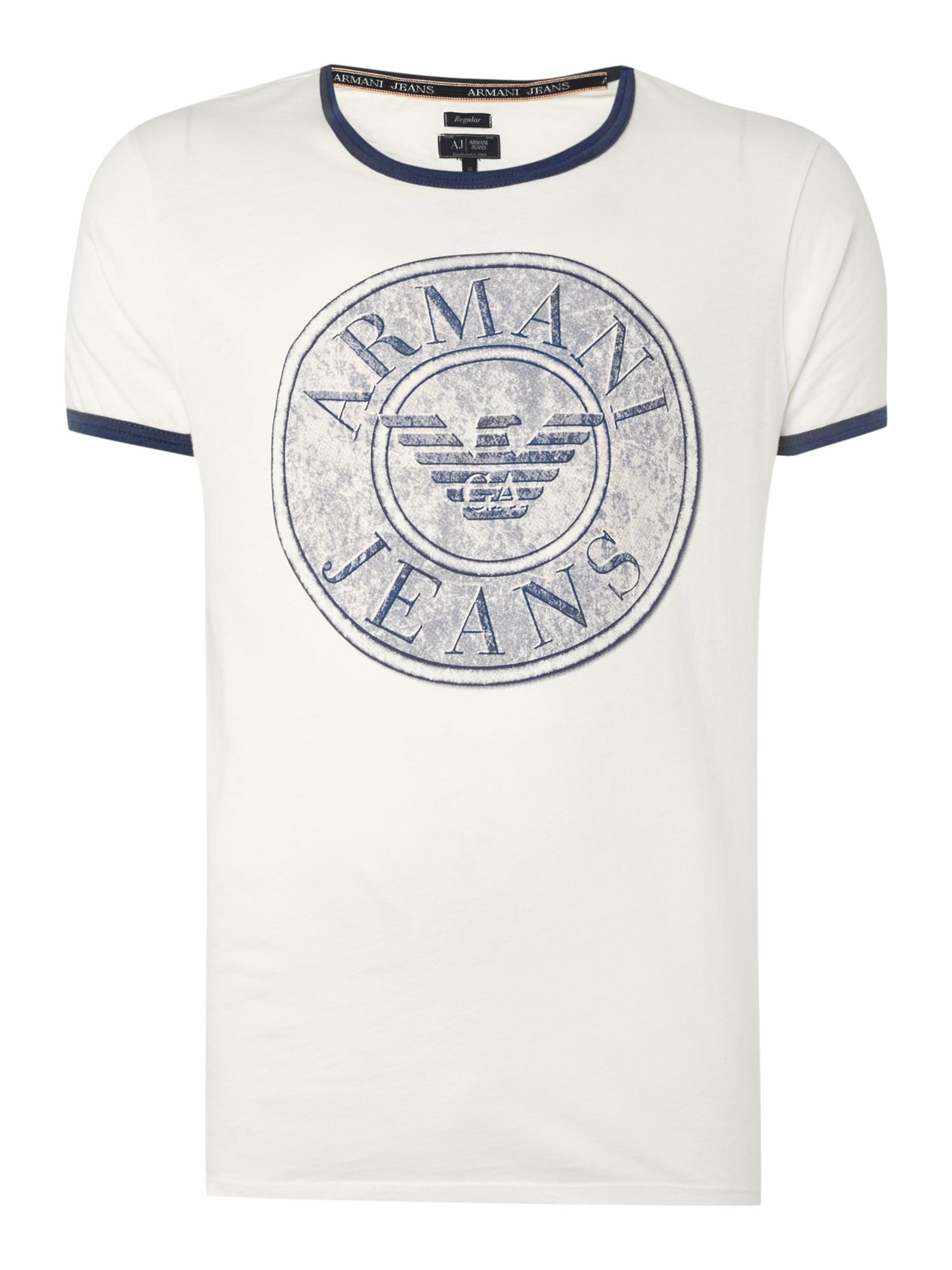 Armani jeans regular fit button logo printed t shirt in for Logo printed t shirts