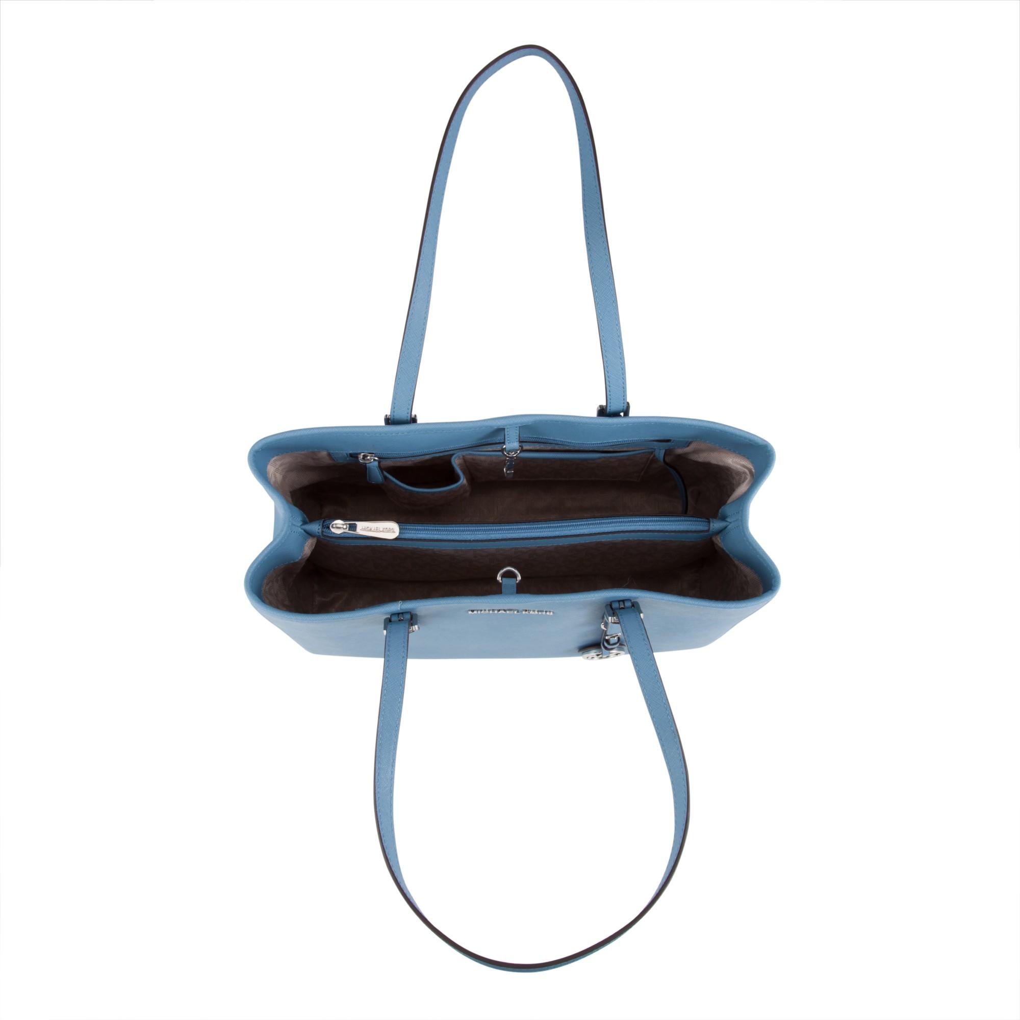 b3a39f35f01b44 MICHAEL Michael Kors Jet Set Travel Large Leather Tote Bag in Blue ...