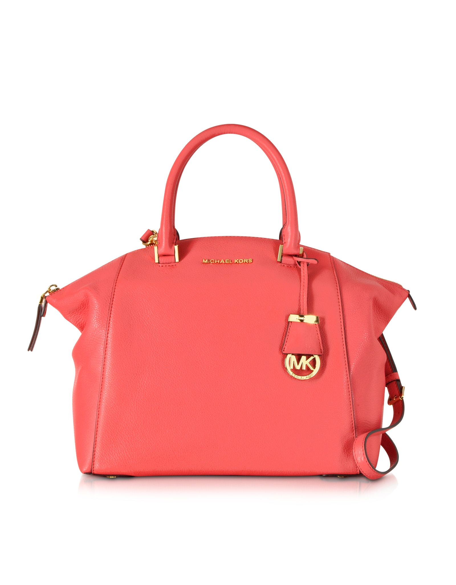 a213729b6c06 Michael Kors Riley Large Watermelon Pebbled-Leather Satchel in Red ...