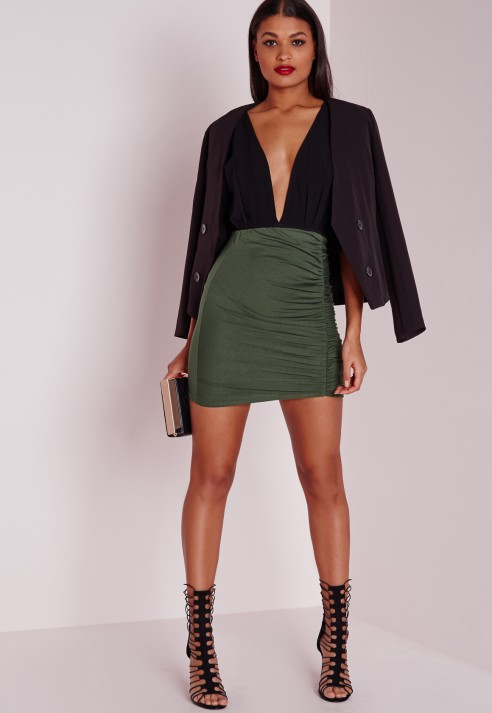 Missguided Ruched Mini Skirt Khaki in Green | Lyst