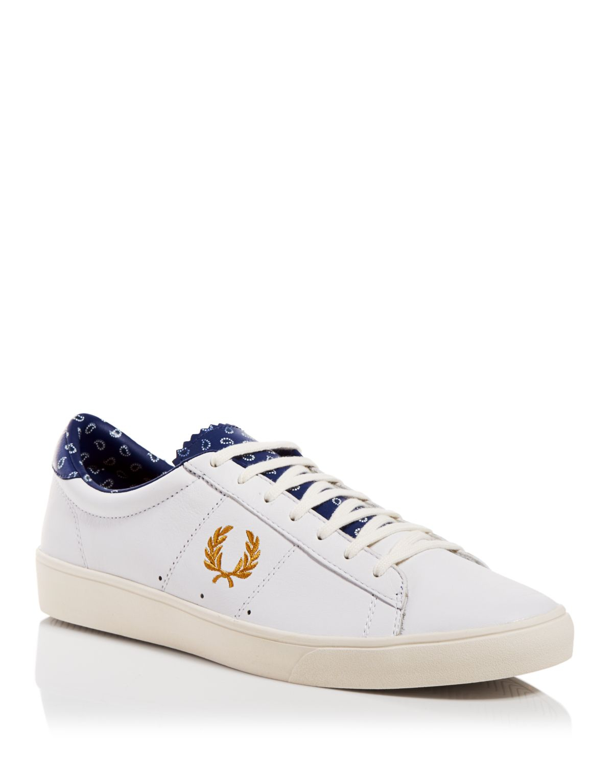 fred perry spencer leather drakes sneakers in white for. Black Bedroom Furniture Sets. Home Design Ideas