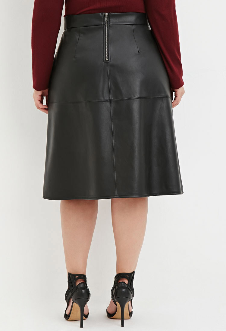 Forever 21 Plus Size Faux Leather Midi Skirt in Black