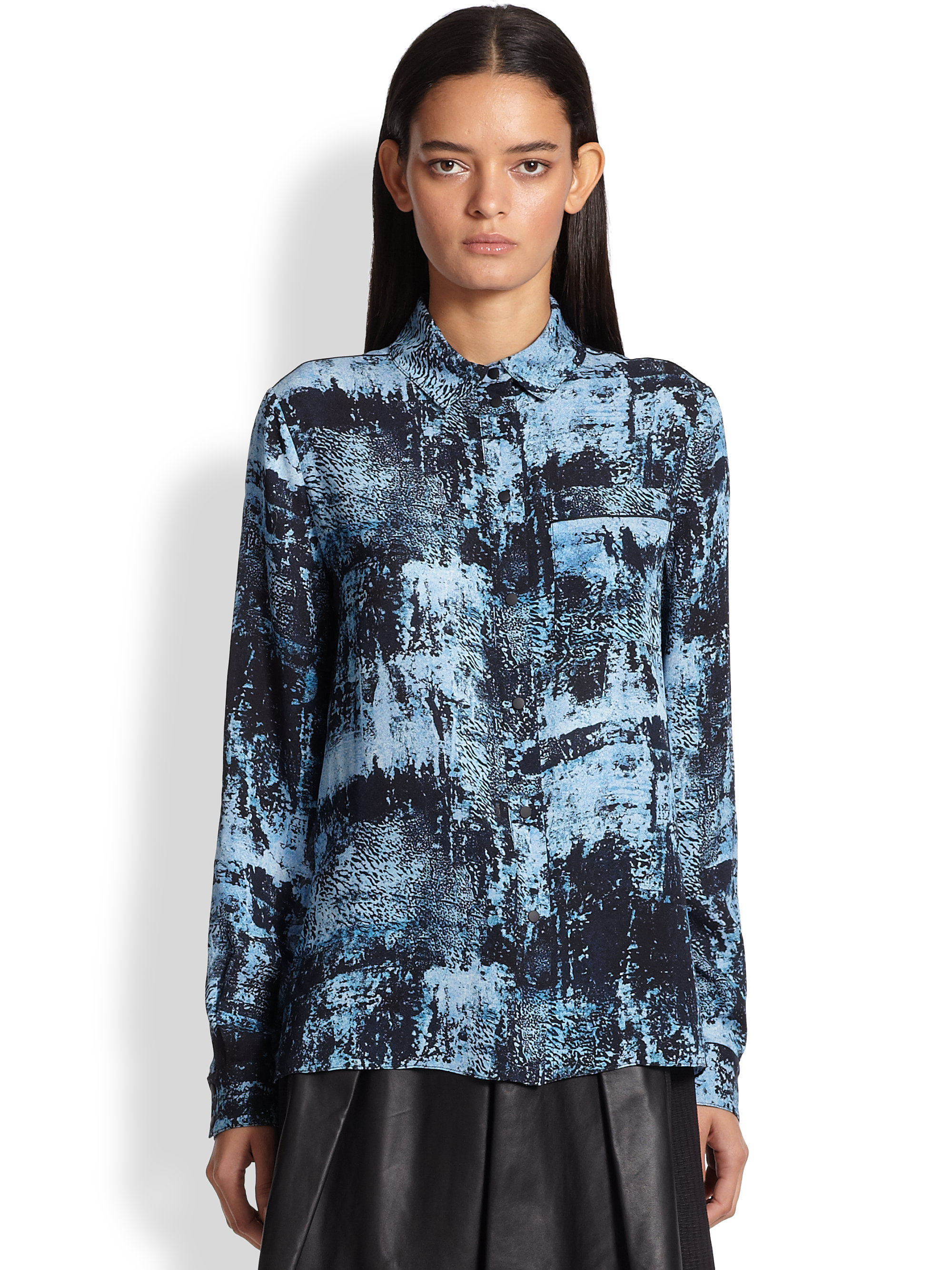 Lyst Print In Proenza Blue Schouler Silk Spray Blouse mNv0w8n