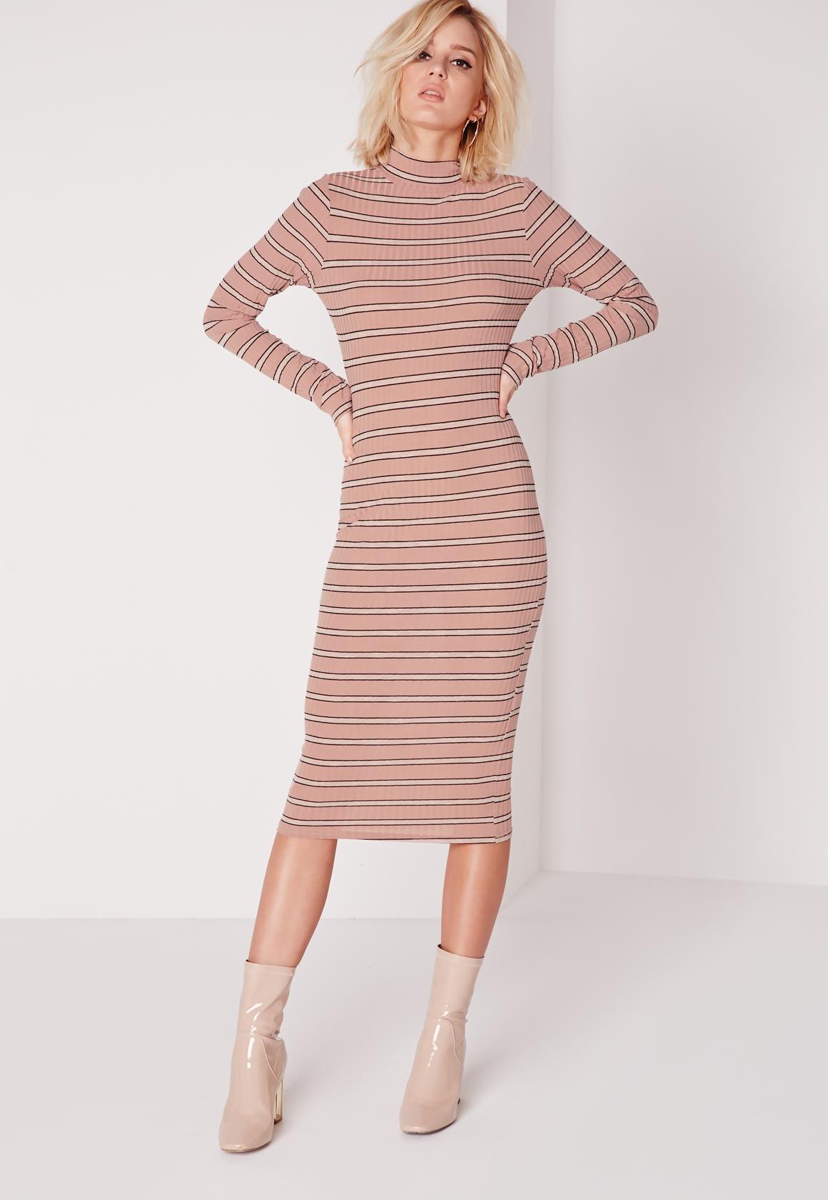 da356b0495 Lyst - Missguided Long Sleeve High Neck Stripe Midi Dress Pink black ...