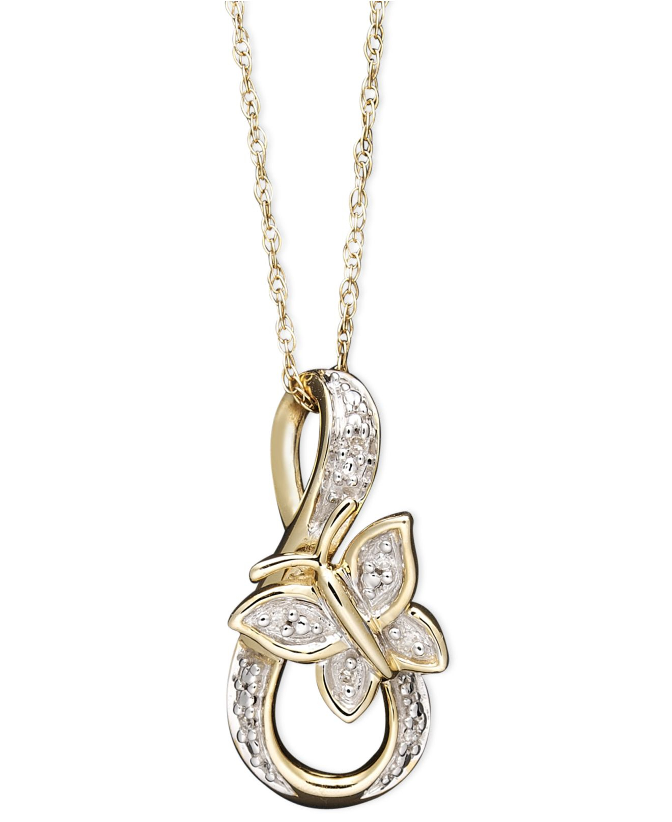 macy s 14k gold necklace accent butterfly pendant