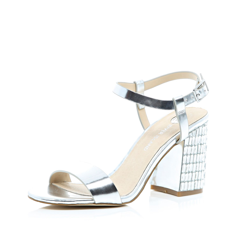 b14ae6e0731 Lyst - River Island Silver Gem Block Heel Sandals in Metallic