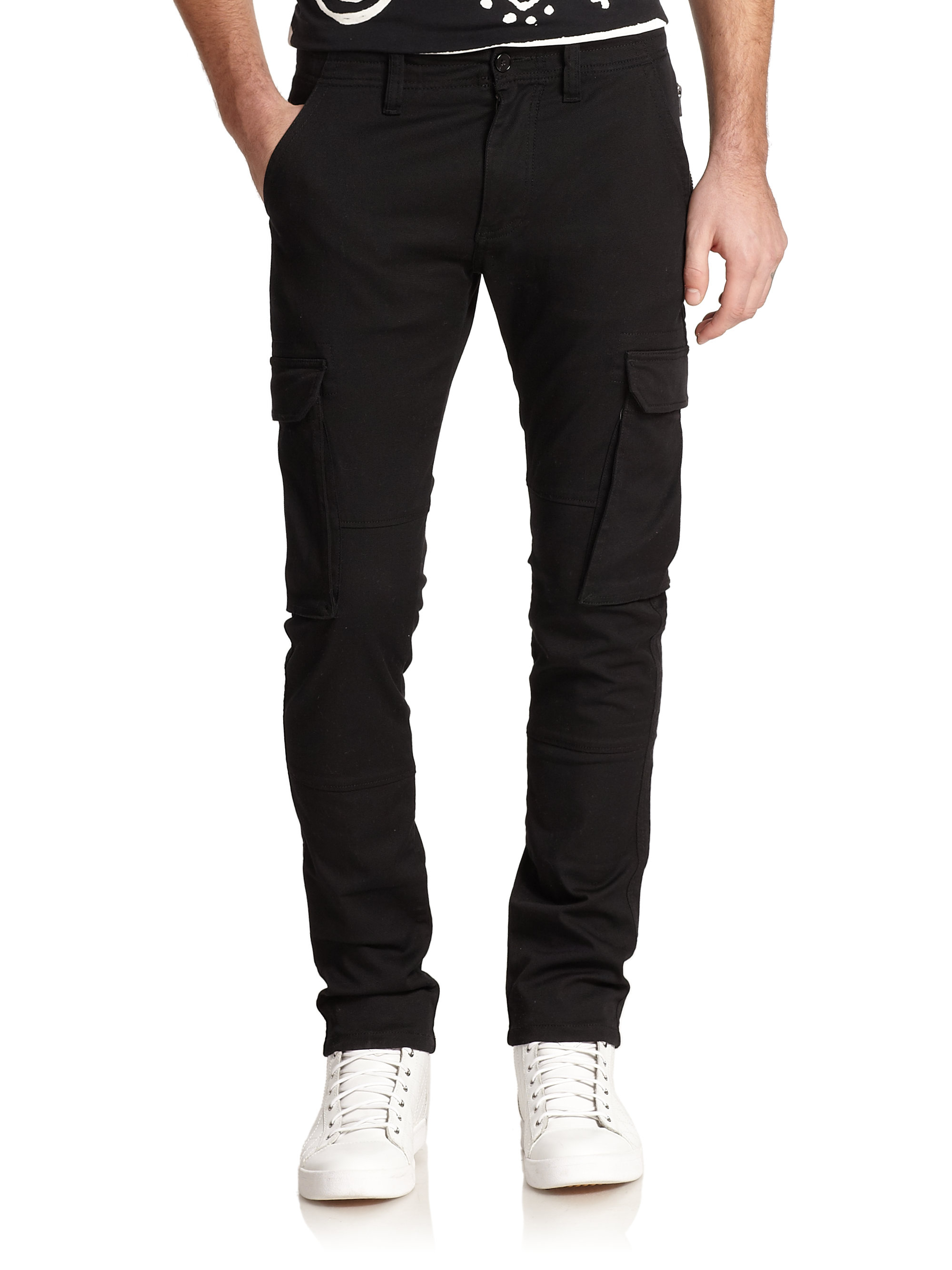 Diesel black gold Slim Cotton Twill Cargo Pants in Black for Men ...