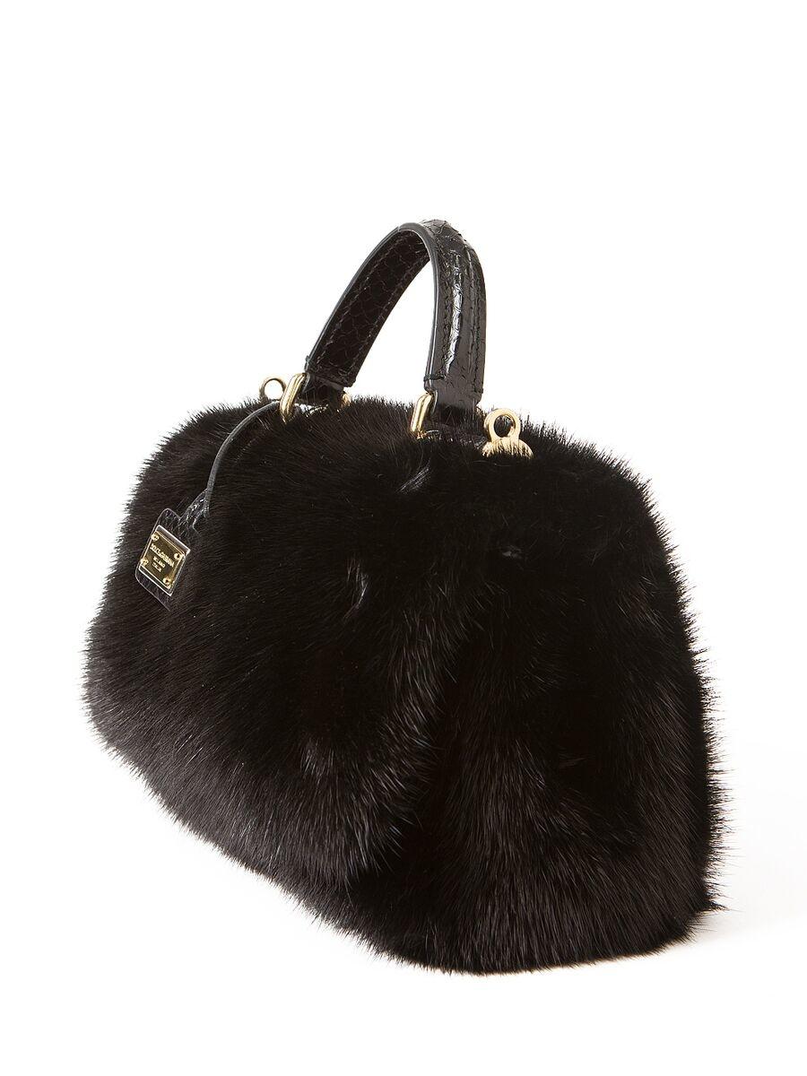 Lyst Dolce Amp Gabbana Mini Ayers Fur Bag In Black