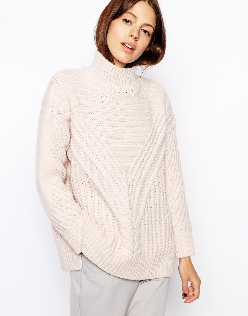 Asos Cable Sweater With Turtleneck in Pink | Lyst