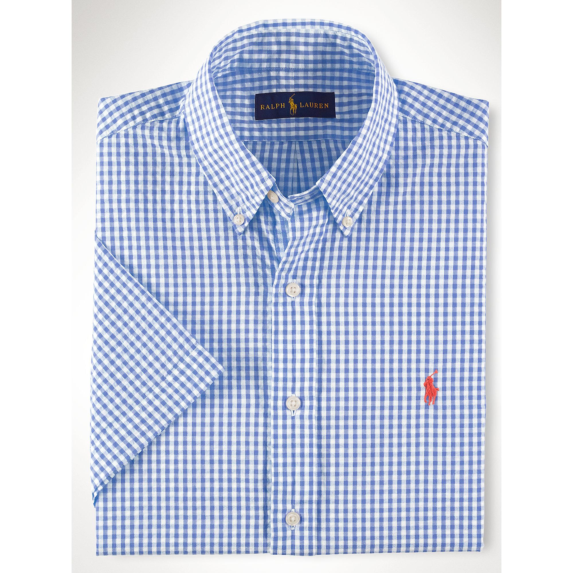 007d098ab ... uk lyst polo ralph lauren gingham seersucker shirt in blue for men  53c96 a9fbb