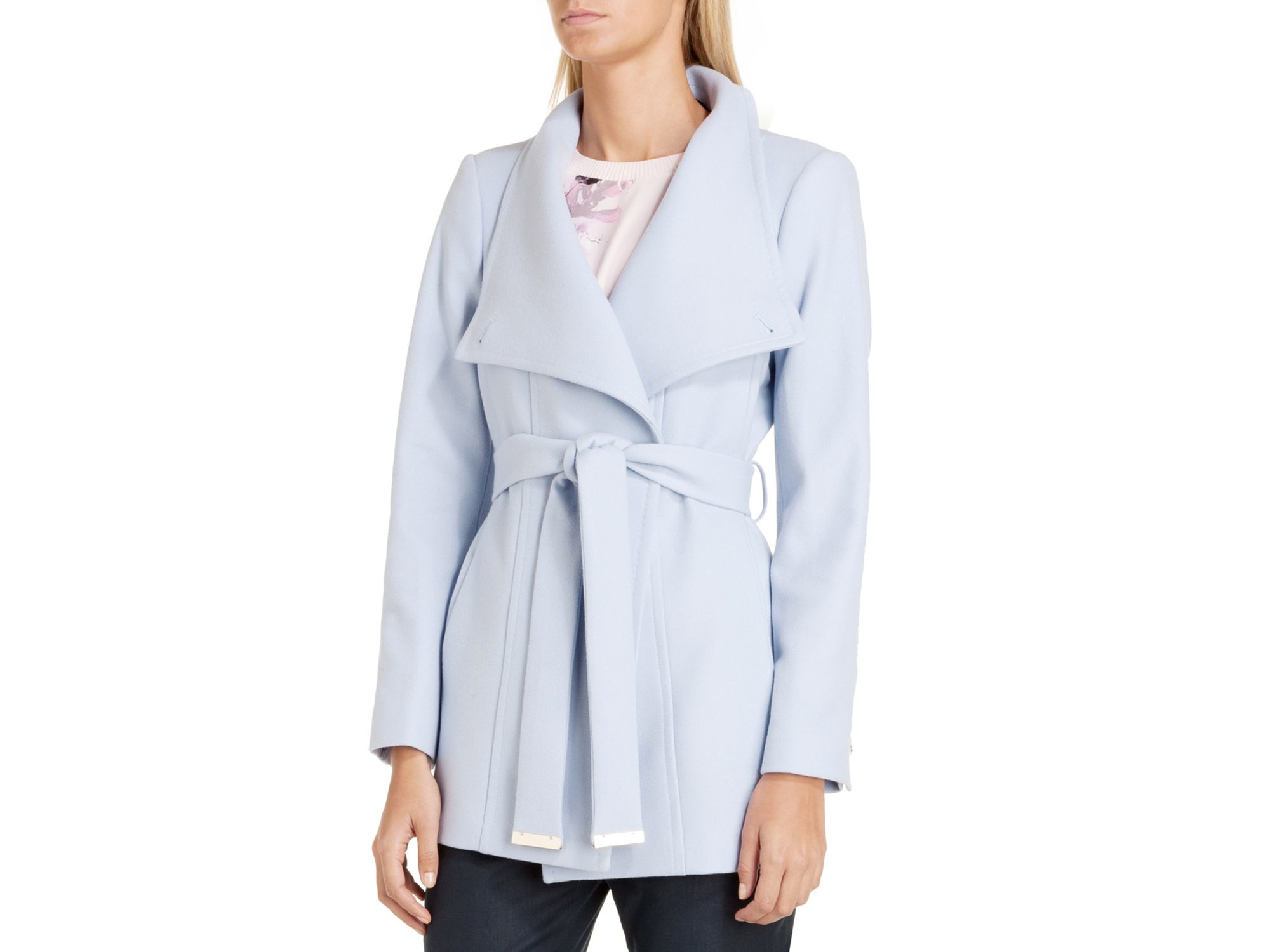 Ted baker Paria Short Wrap Coat in Blue   Lyst