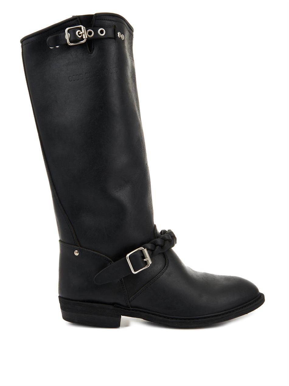 golden goose deluxe brand leather biker boots in black lyst. Black Bedroom Furniture Sets. Home Design Ideas