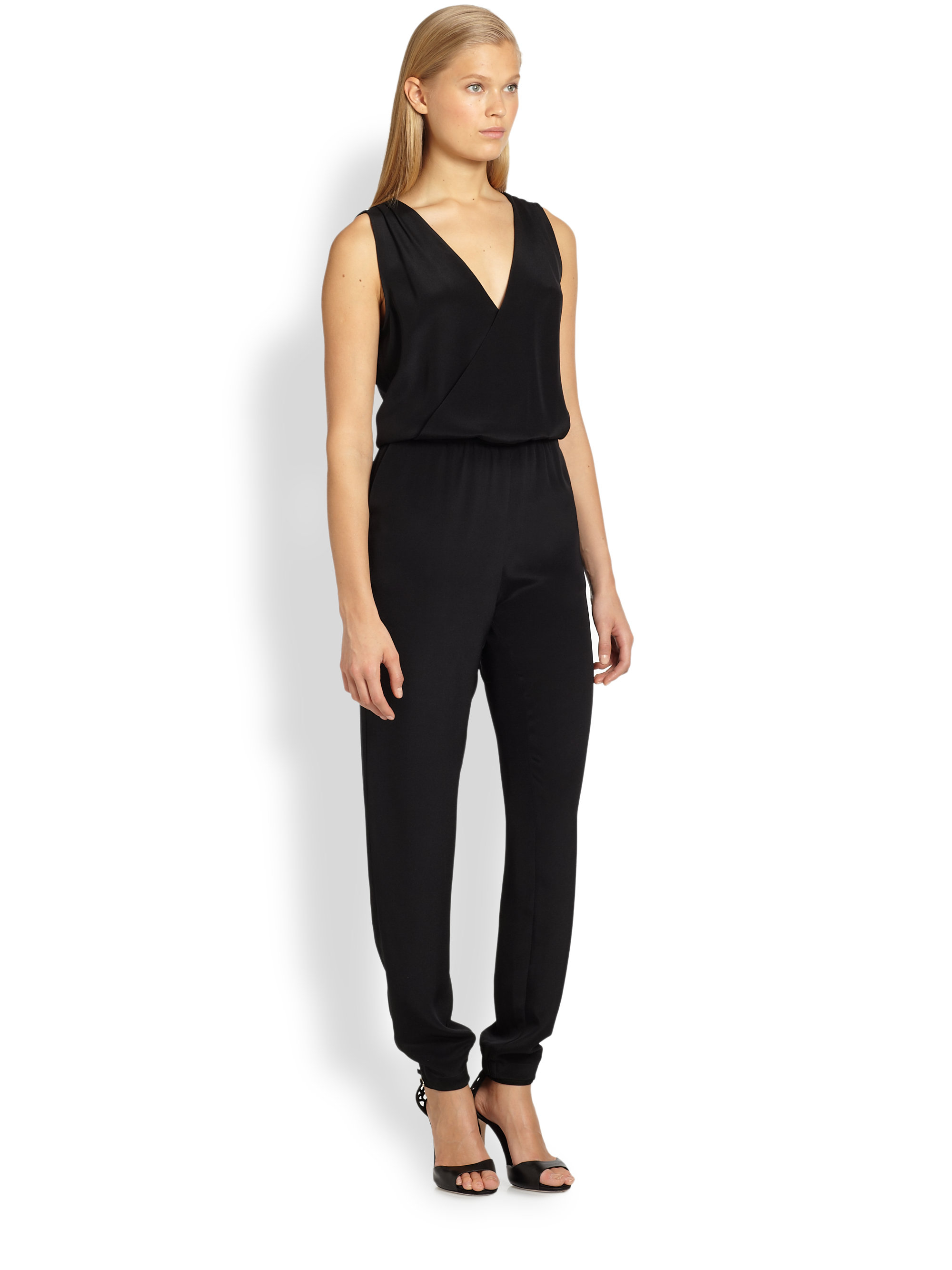 Lyst Rebecca Minkoff Mara Silk Jumpsuit In Black