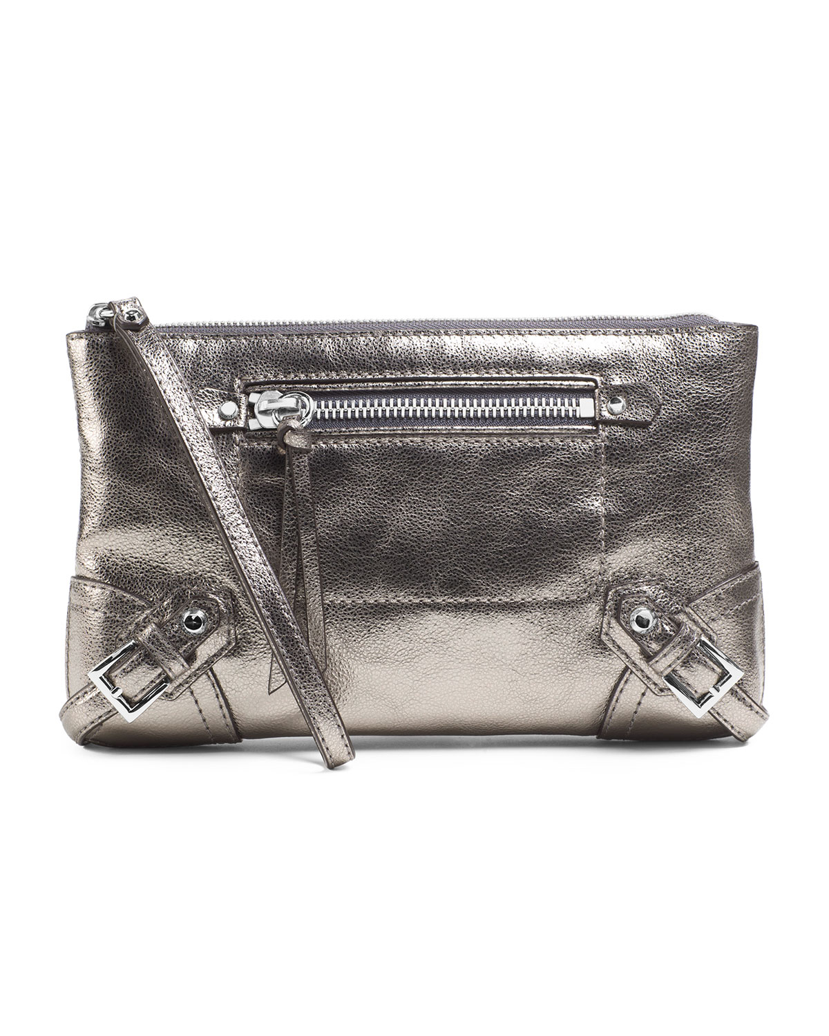 michael michael kors large fallon zip clutch in silver. Black Bedroom Furniture Sets. Home Design Ideas