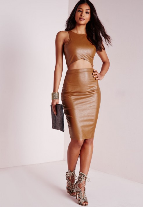 Missguided Faux Leather Midi Skirt Tan in Brown | Lyst