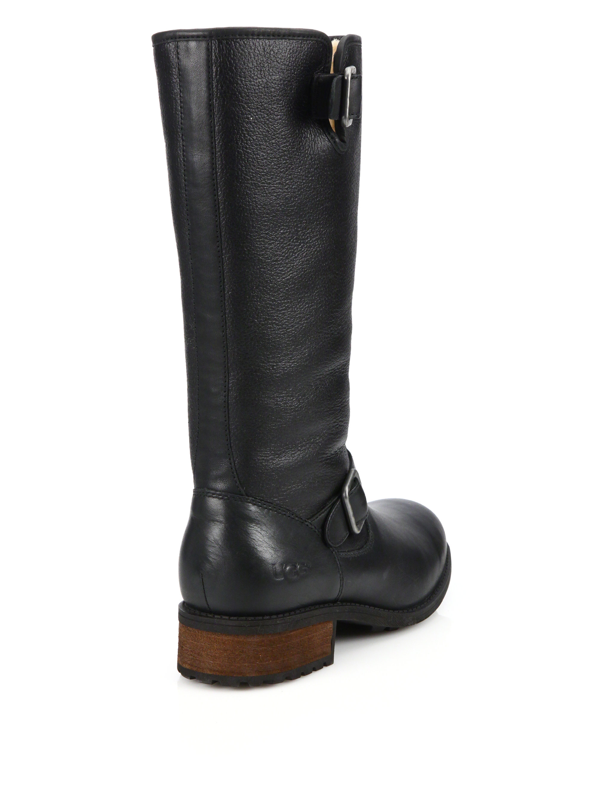 2484ab5adb8 ... new style lyst ugg chancery sheepskin leather boots in black 45605 7ae8d