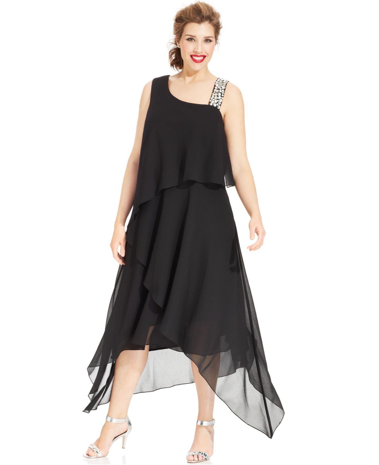 Alex Evenings Plus Size Asymmetrical Tiered Dress in Black - Lyst