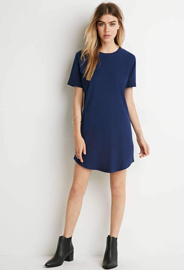 Forever 21 Classic T-shirt Dress in Blue | Lyst