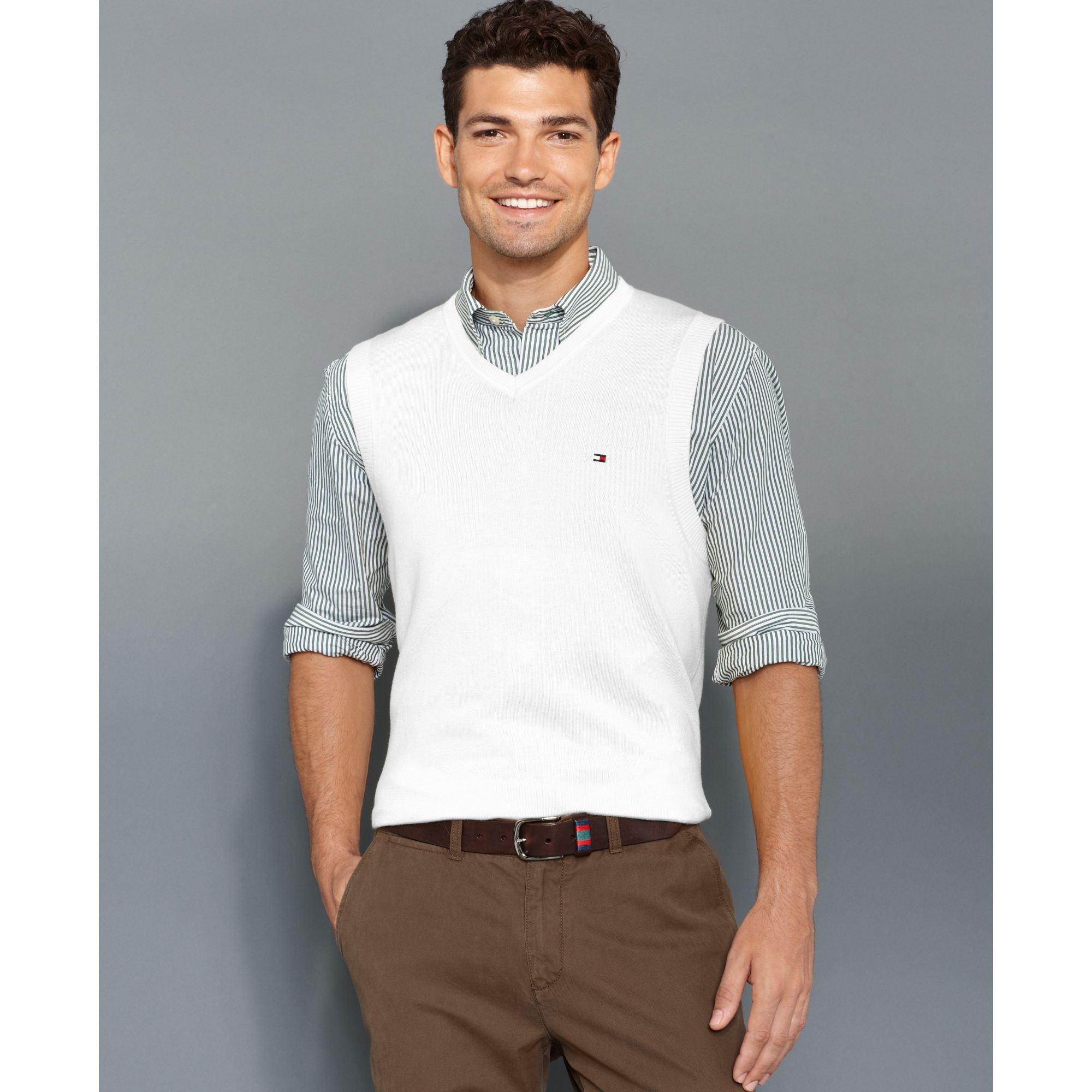 Tommy hilfiger American Solid Sweater Vest in White for Men | Lyst