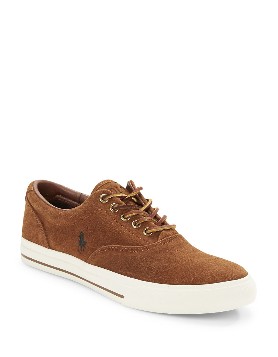 polo ralph vaughn suede lace up sneakers in brown