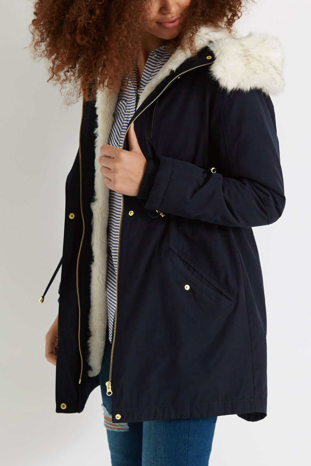 1bfa9b90330e Oasis Laura Parka Coat in Blue - Lyst