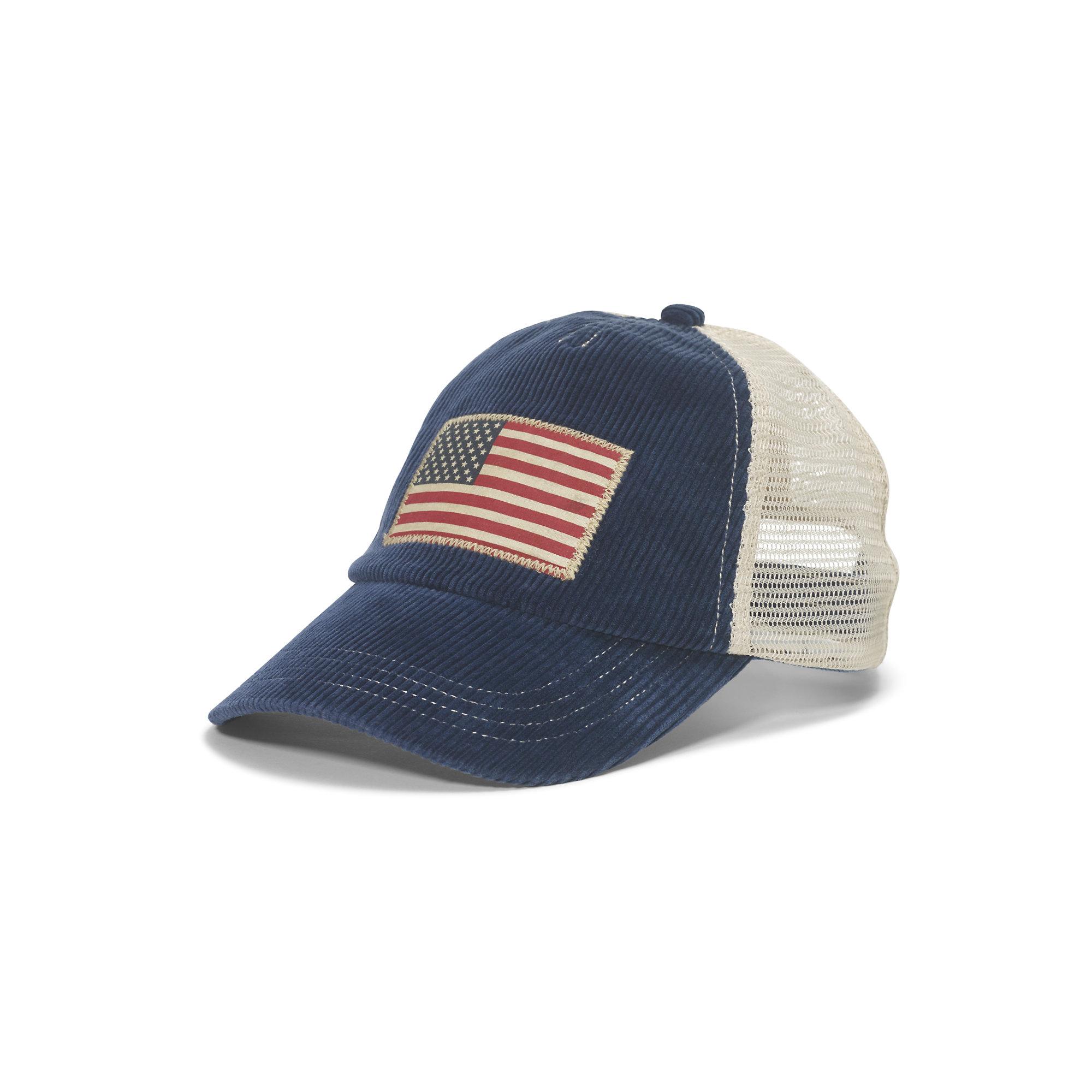 Polo Ralph Lauren Corduroy Flag Trucker Cap In Blue For