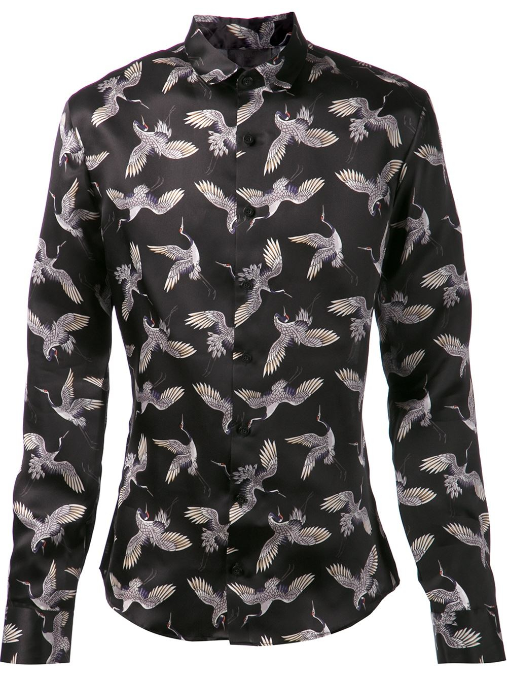 Les Hommes Bird Print Shirt In Black For Men Lyst