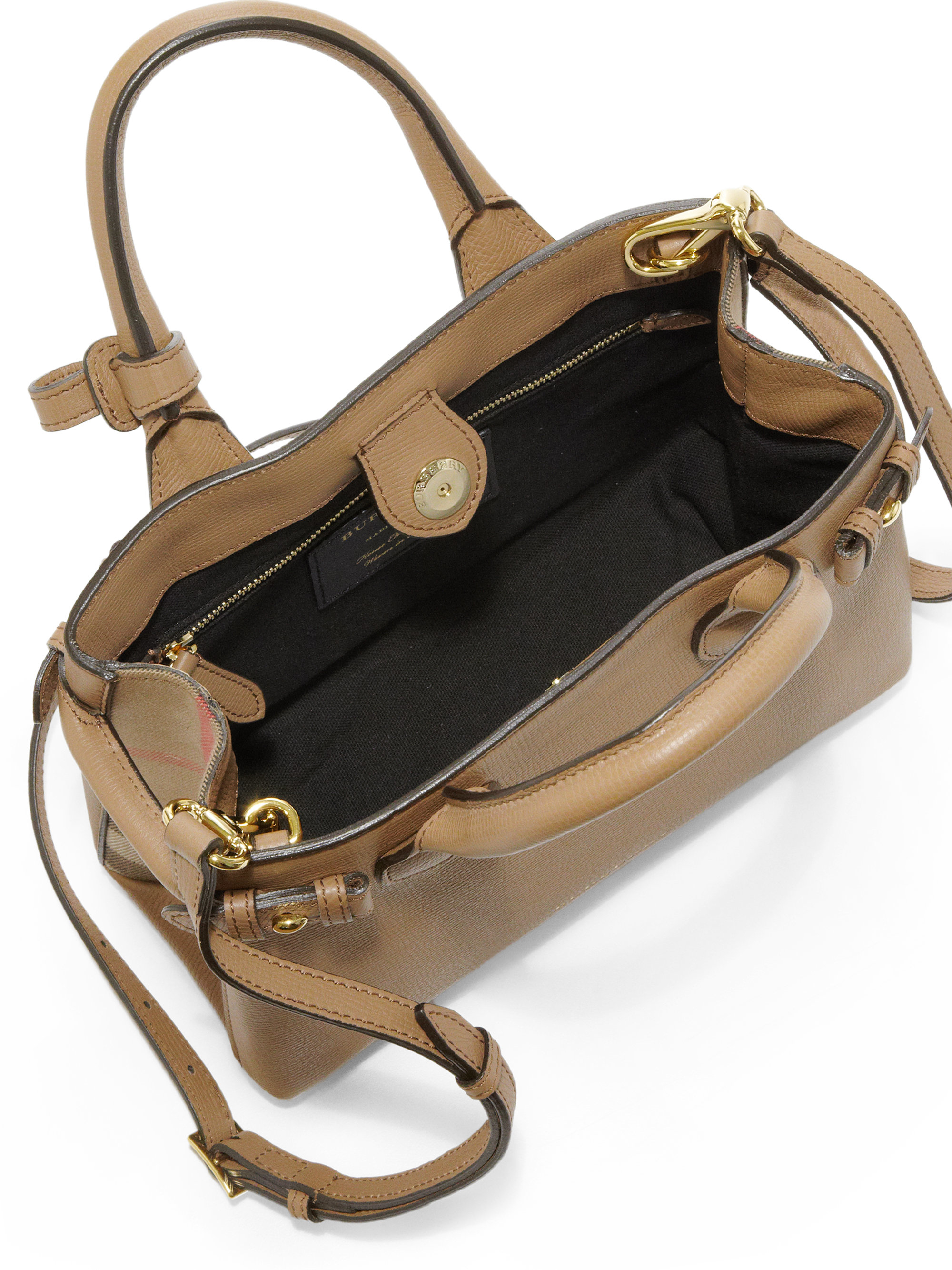 b28ad41e0215 Lyst - Burberry Banner Small Leather   House Check Satchel in Natural