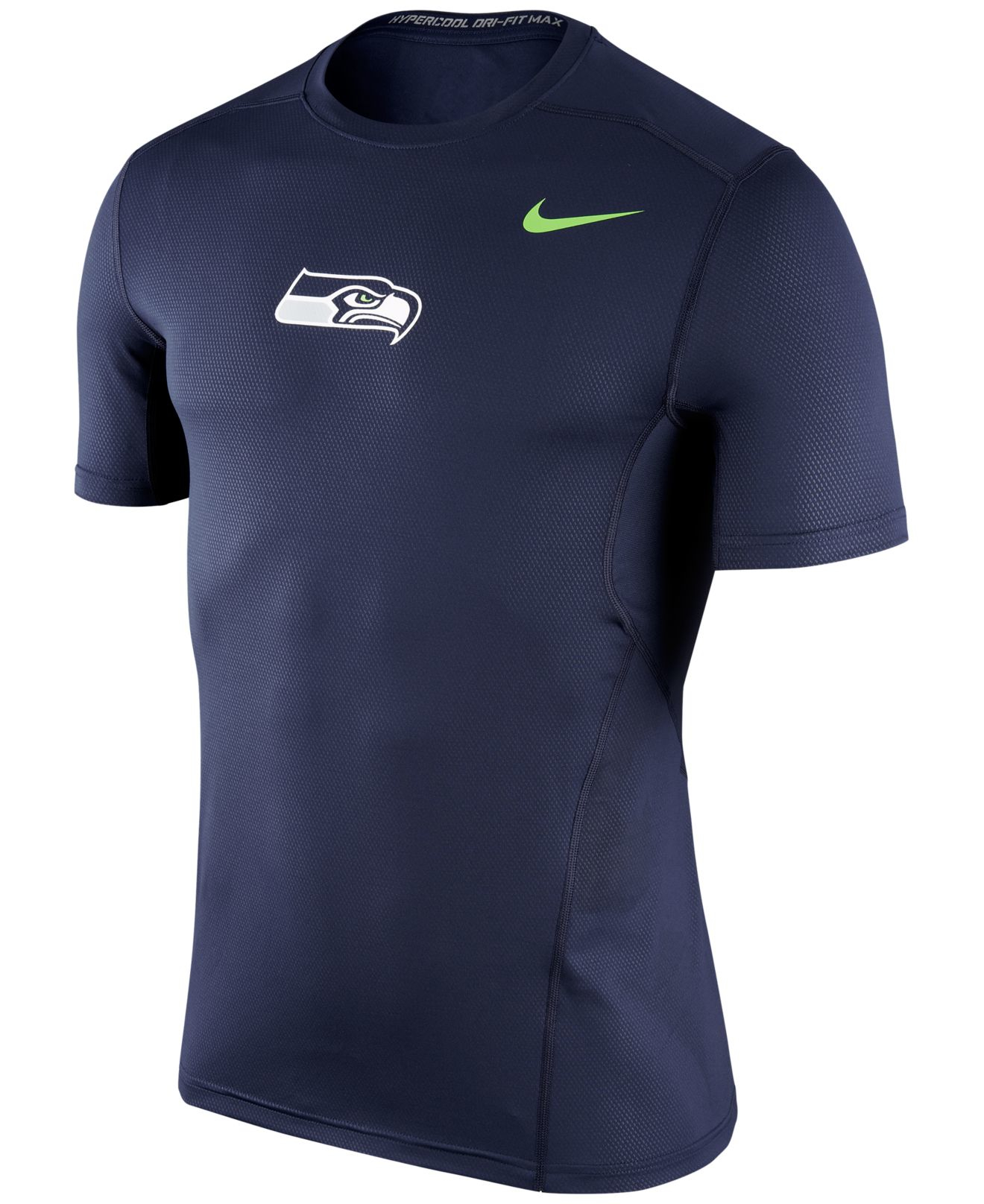 Nike men 39 s seattle seahawks hypercool t shirt in blue for for Seattle t shirt printing