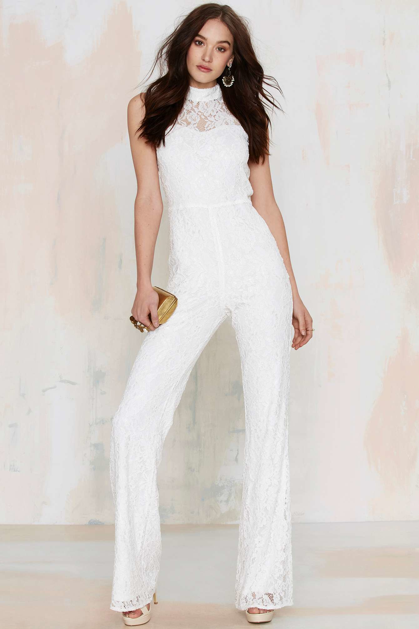 Lyst Nasty Gal Adriana Lace Jumpsuit White In White