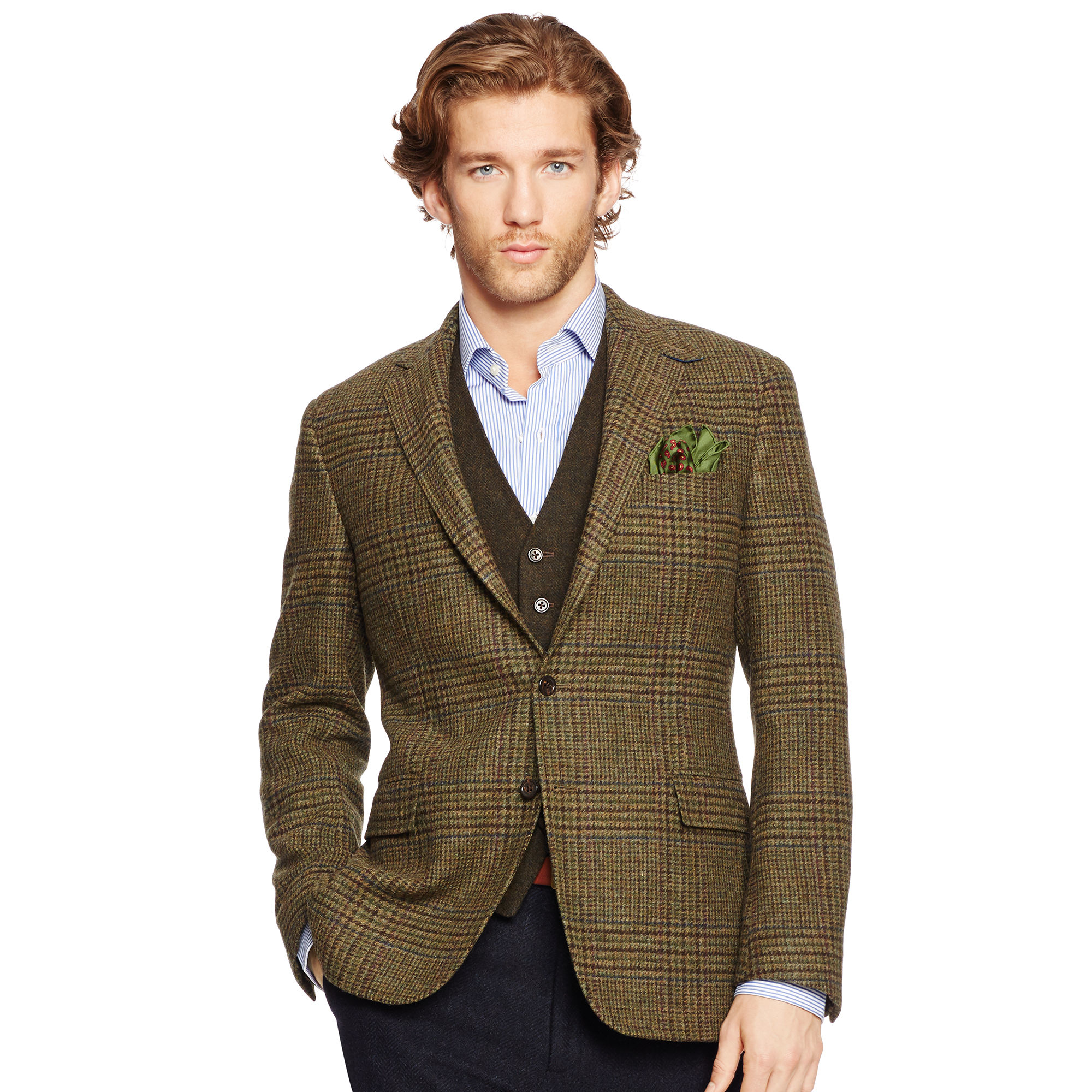 Lyst polo ralph lauren bedford glen plaid sport coat in for Polo shirt with sport coat
