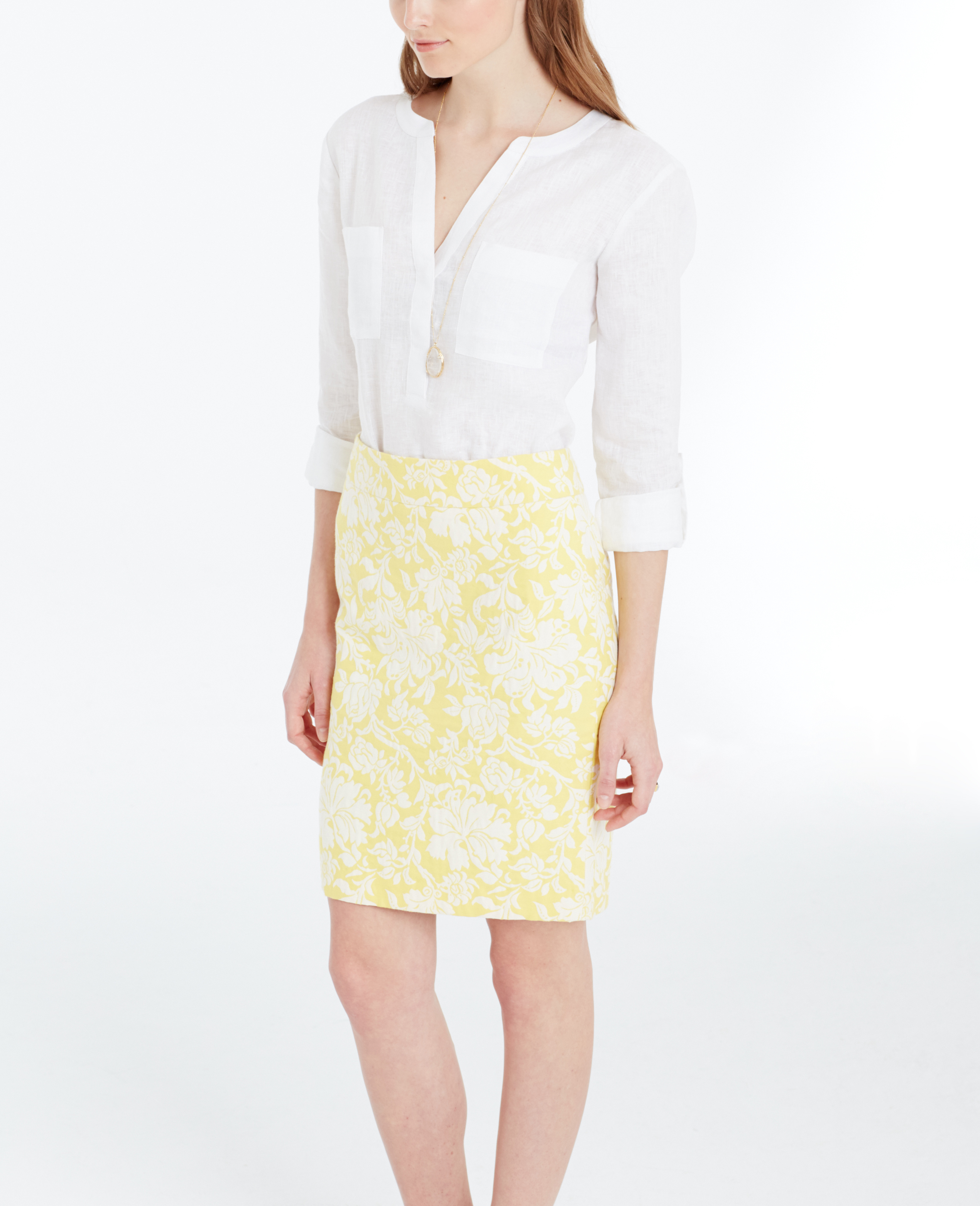 Ann taylor Tall Magnolia Floral Jacquard Pencil Skirt in Yellow | Lyst