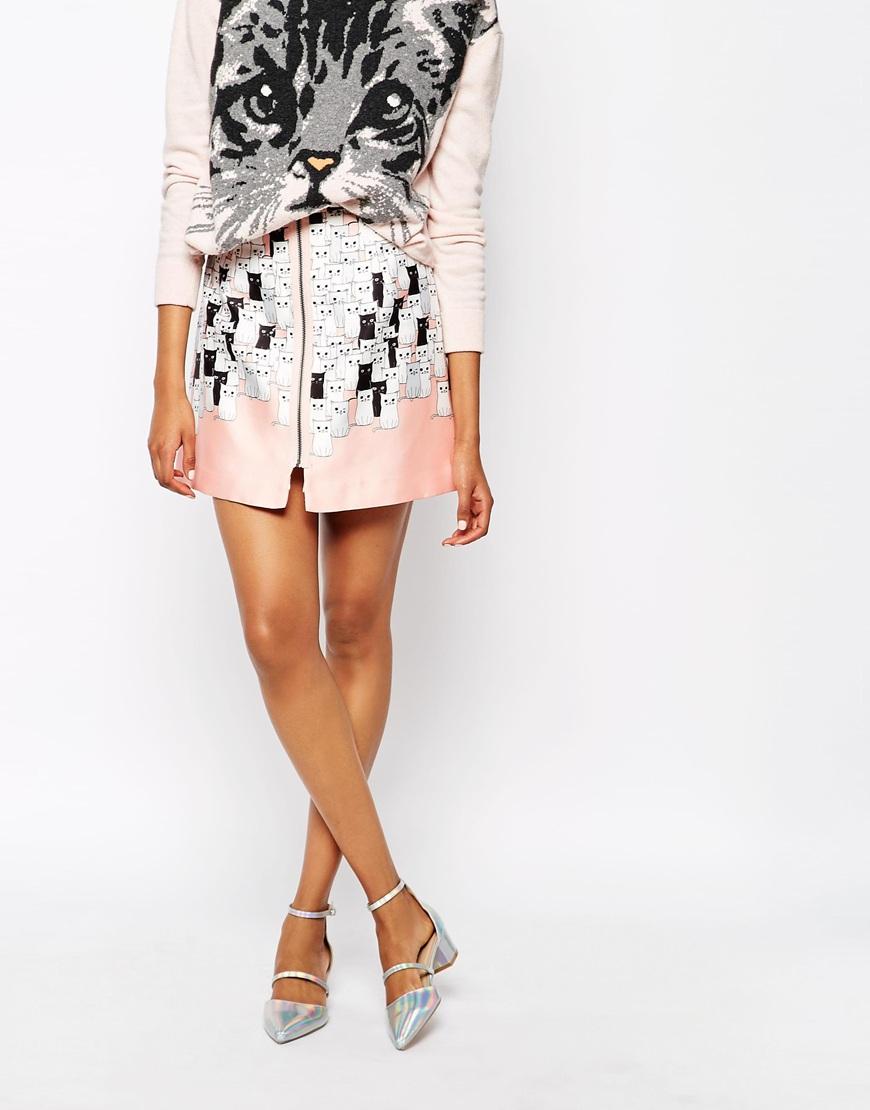 paul joe paul and joe sister feufolet skirt in cat print in pink lyst. Black Bedroom Furniture Sets. Home Design Ideas