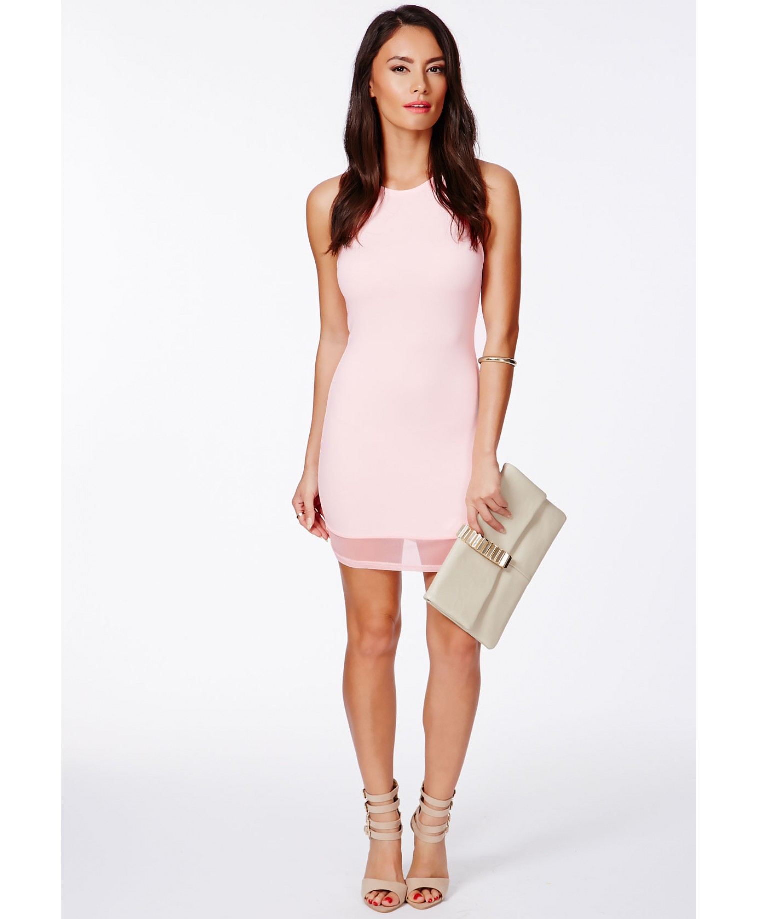 277d7b92742 Missguided Liliana Halterneck Mesh Detail Bodycon Dress In Baby Pink ...