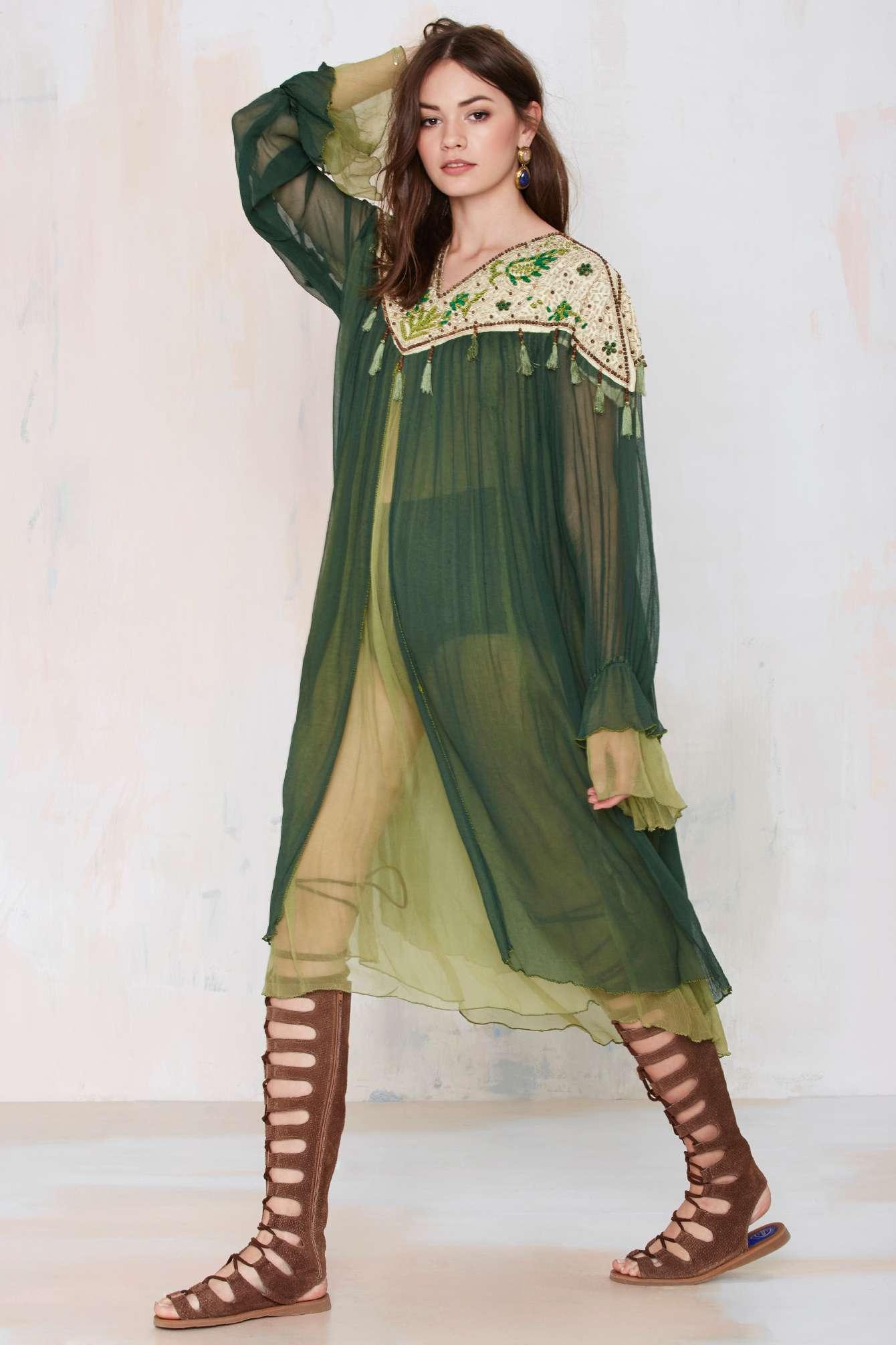 gal vintage adonis beaded chiffon dress in green lyst