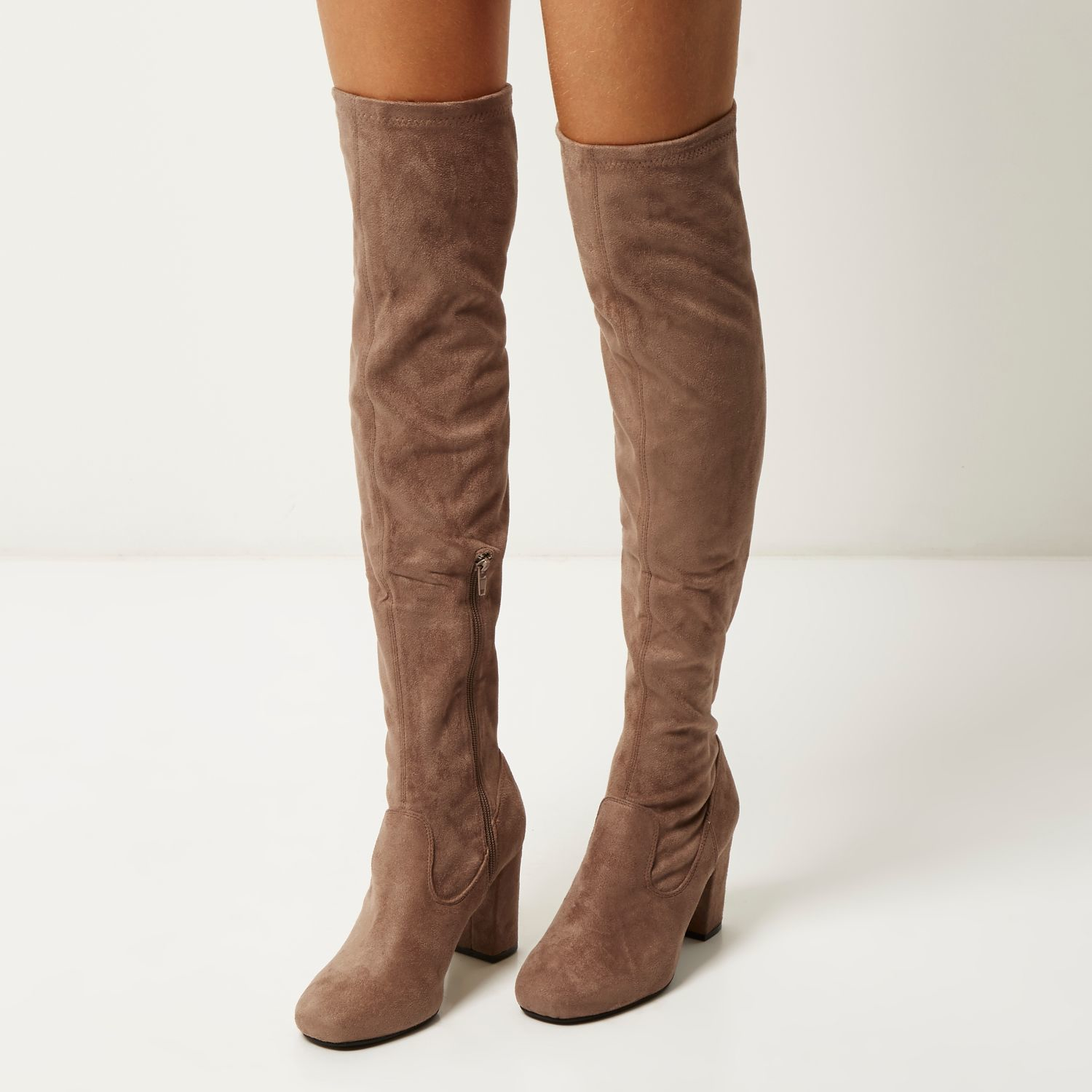 River island Tan Faux Suede Over The Knee Heeled Boots in Gray | Lyst