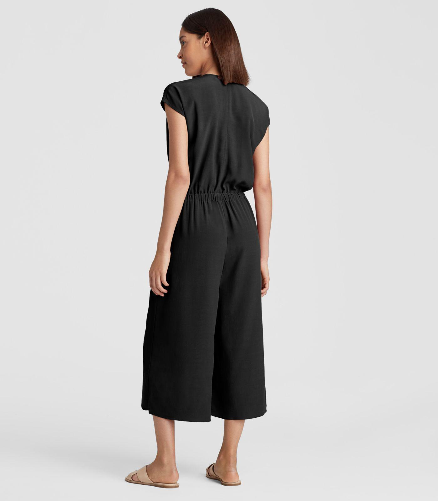 ac135c79e21 Lyst - Eileen Fisher Viscose Crepe Cropped Wide-leg Jumpsuit in Black