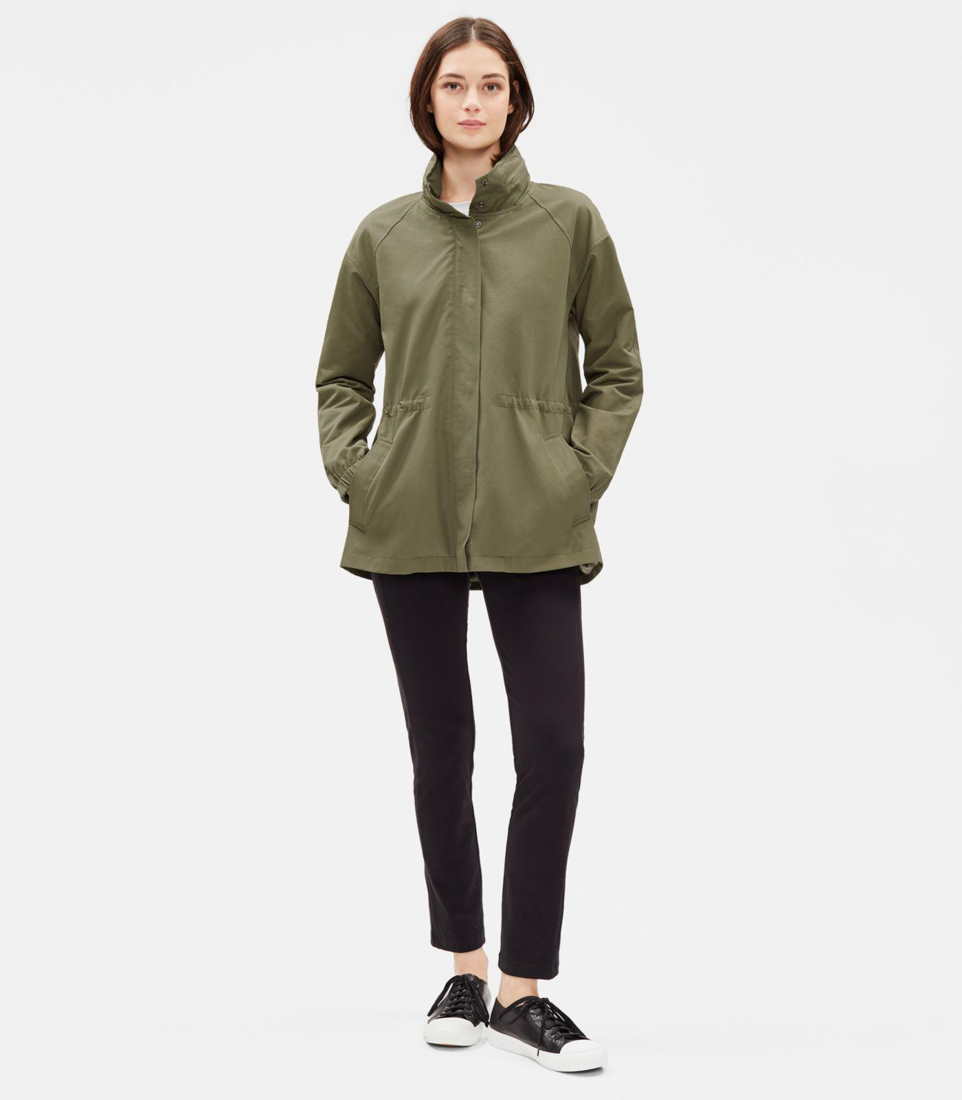 e6d5f54e0866 Eileen Fisher Organic Cotton Nylon Jacket With Hood in Green - Lyst
