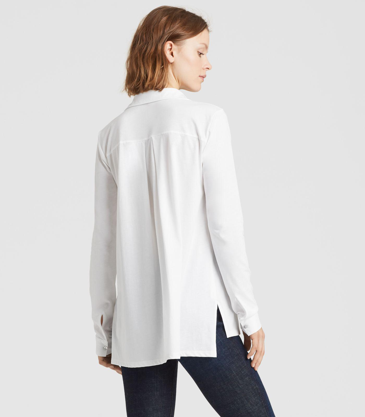 c722fb60 Eileen Fisher - White Organic Cotton Easy Jersey Classic Collar Shirt -  Lyst. View fullscreen